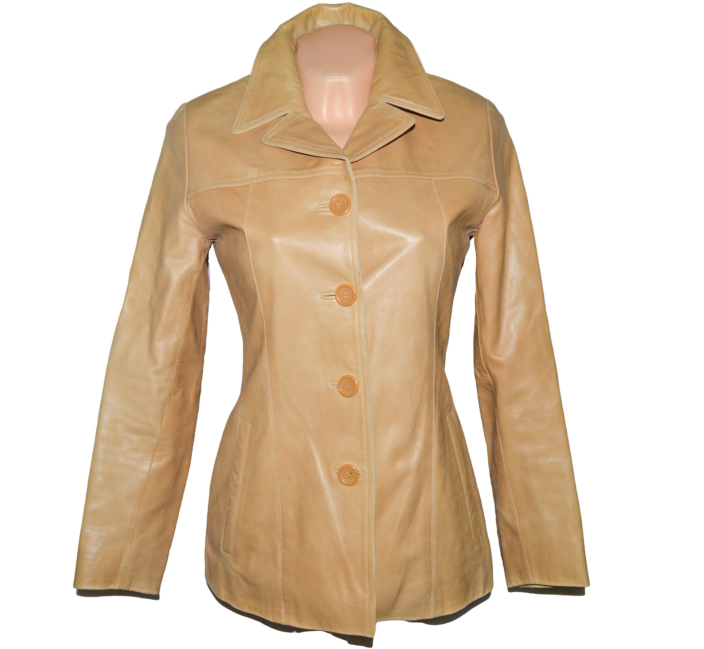 KOŽENÝ dámský hnědý měkký kabát GIPSY S