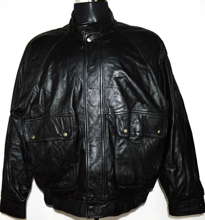 KOŽENÁ pánská černá bunda na zip Marks&Spencer XL