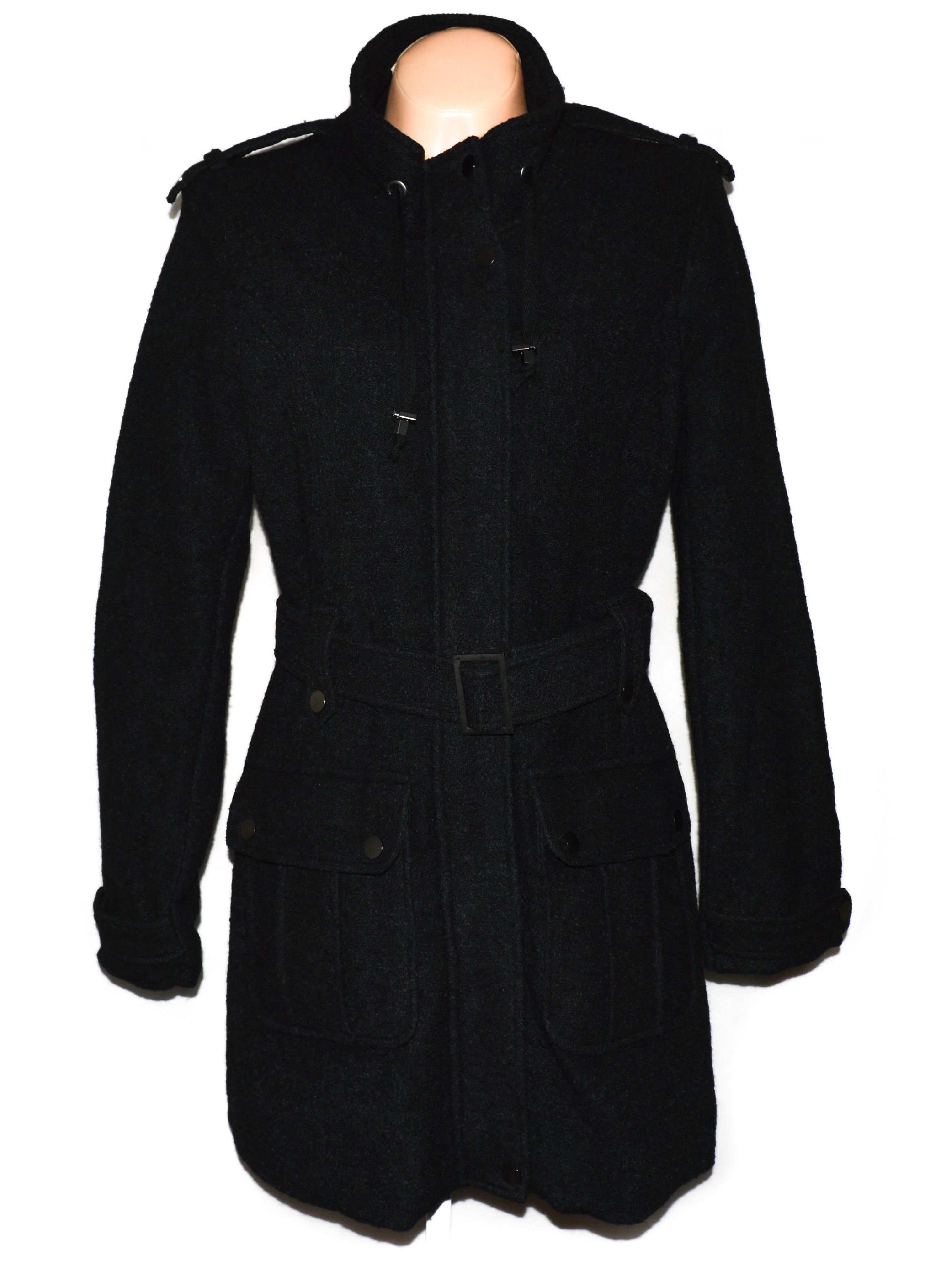 Dámský černý kabát s páskem Fransa XL