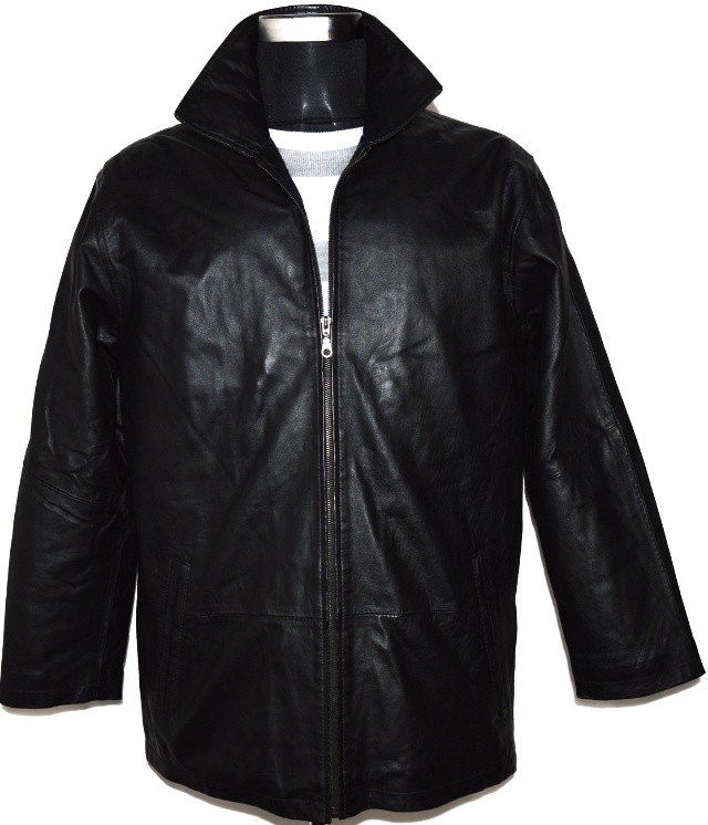 KOŽENÁ pánská měkká černá bunda na zip vel. L