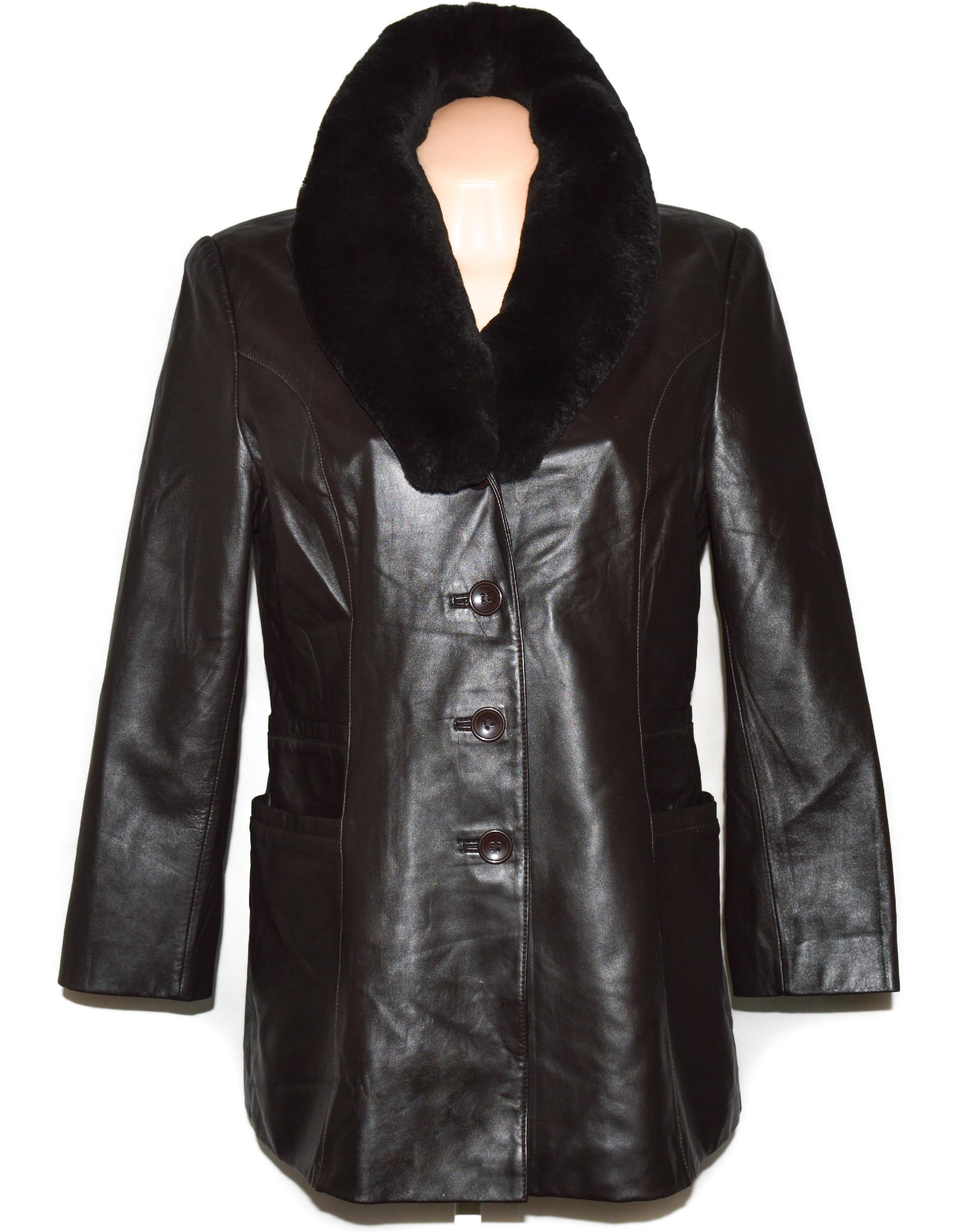 KOŽENÝ dámský hnědý měkký kabát s pravým kožíškem 40