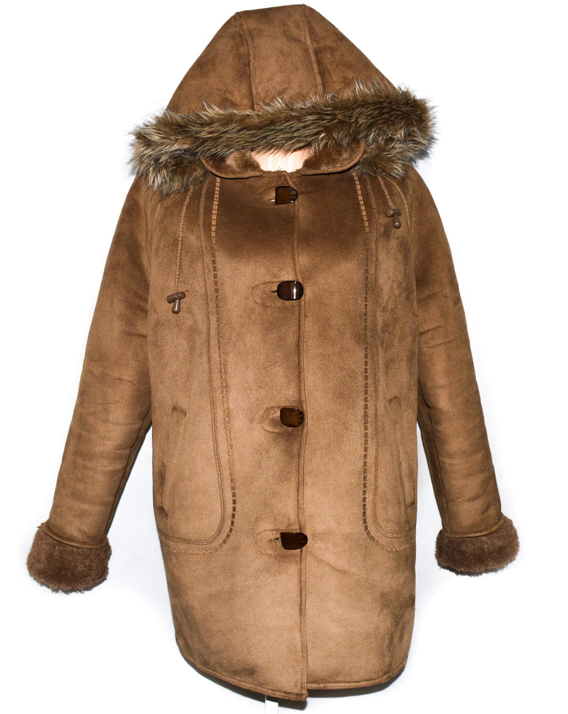 Dámský hnědý zimní kabát s kapucí, kožíškem uvnitř XL/XXL