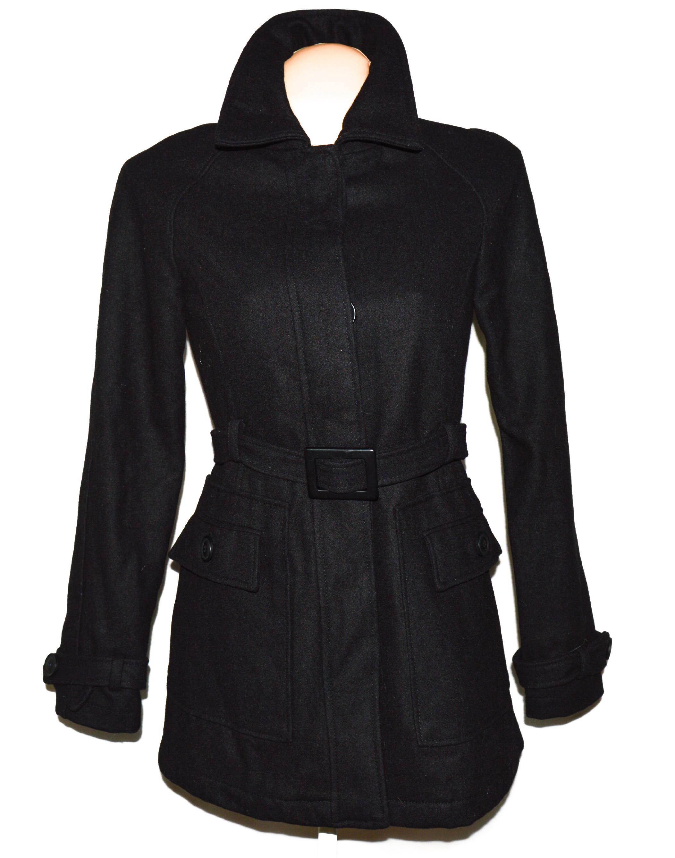 Dámský černý kabát s páskem S