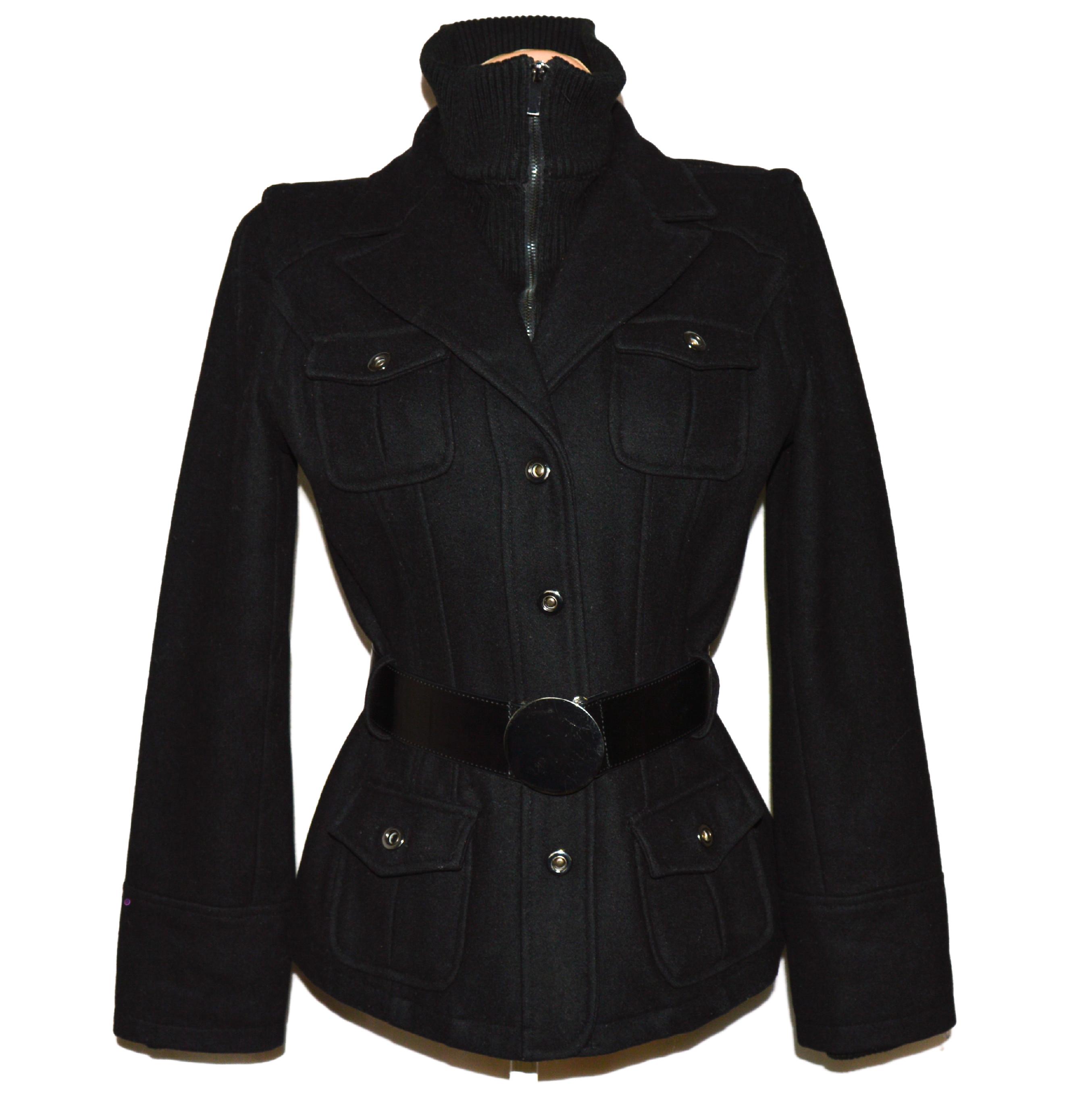 Vlněný (60%) dámský černý kabát s páskem ZARA L