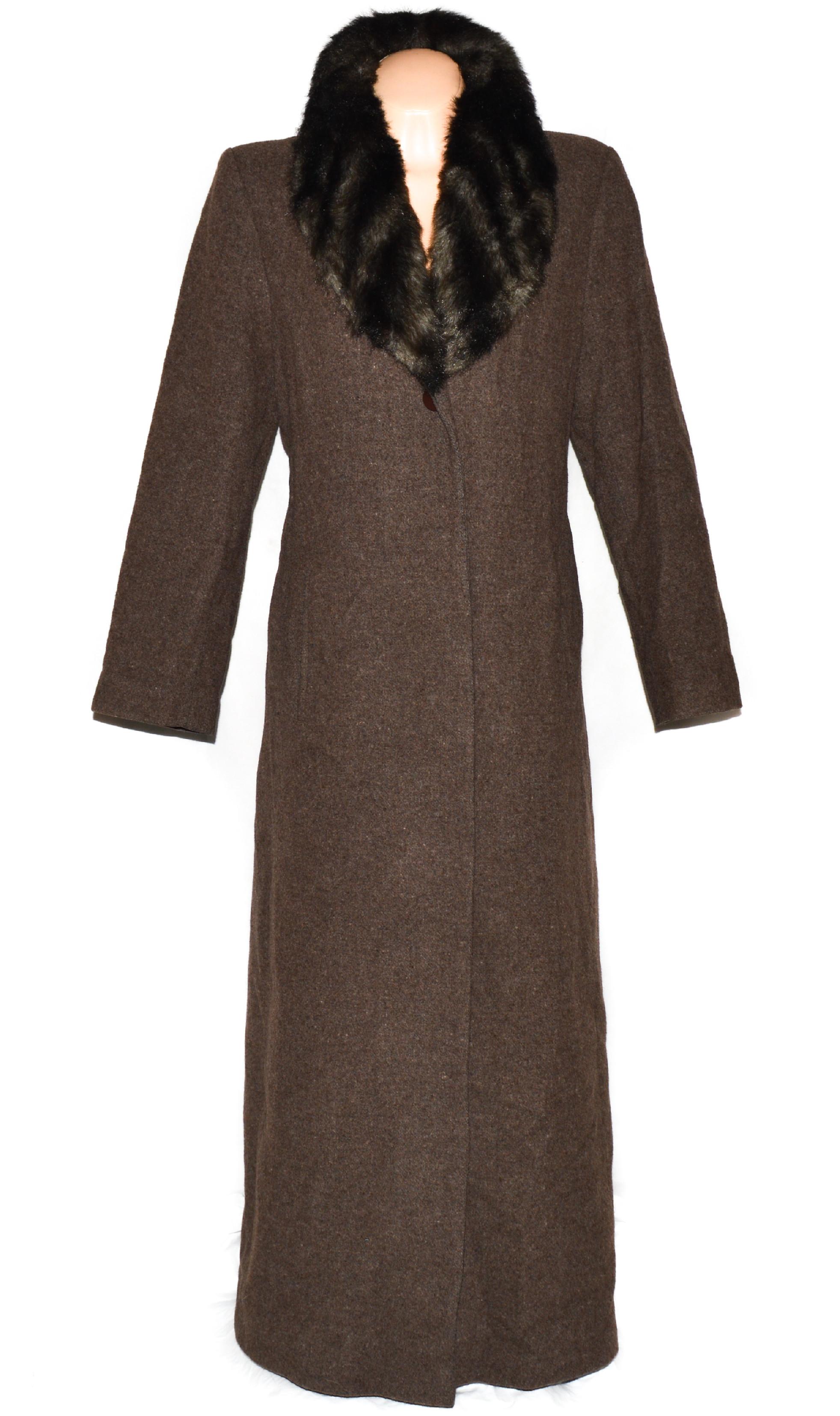 Vlněný (70%) dámský dlouhý hnědý kabát s kožíškem Martha (vlna, kašmír) L
