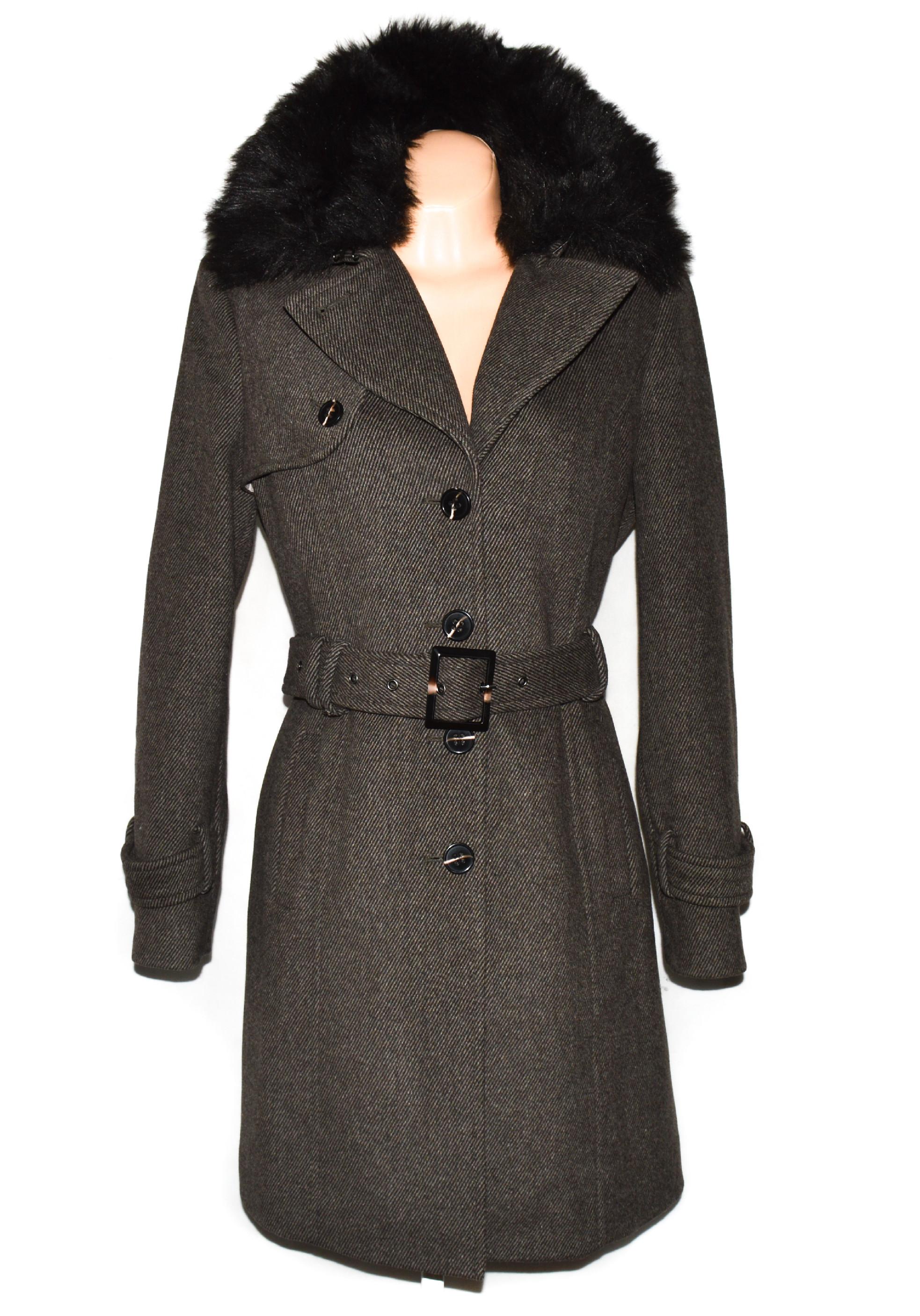 Vlněný (52%) dámský hnědý kabát s páskem a kožíškem YESSICA 40
