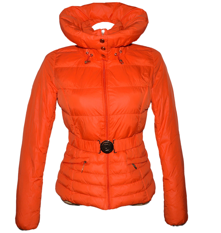 Dámský prošívaný oranžový kabátek s páskem a límcem Dromedar M