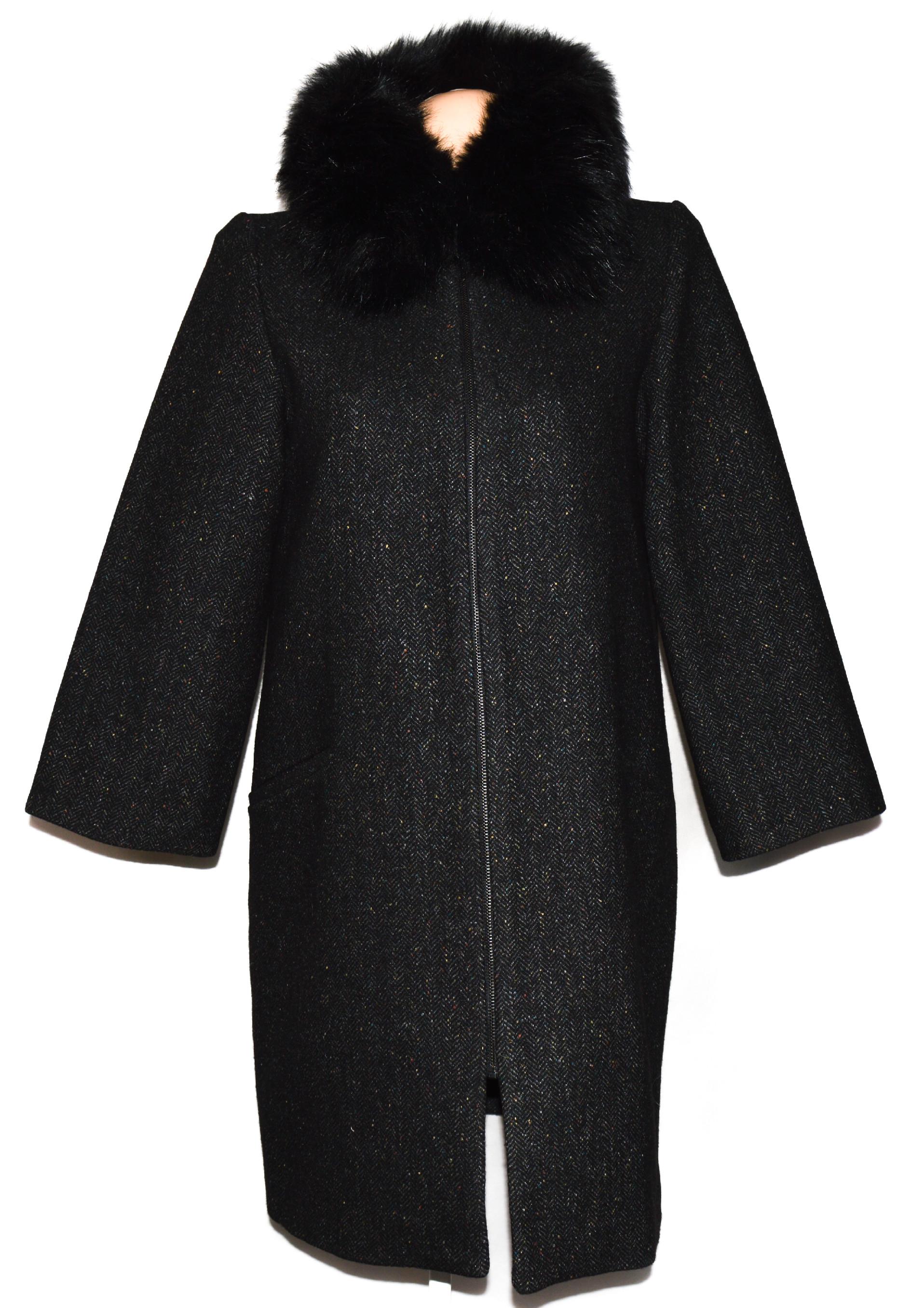 Vlněný (68%) dámský šedočerný kabát s kožíškem ZARA M