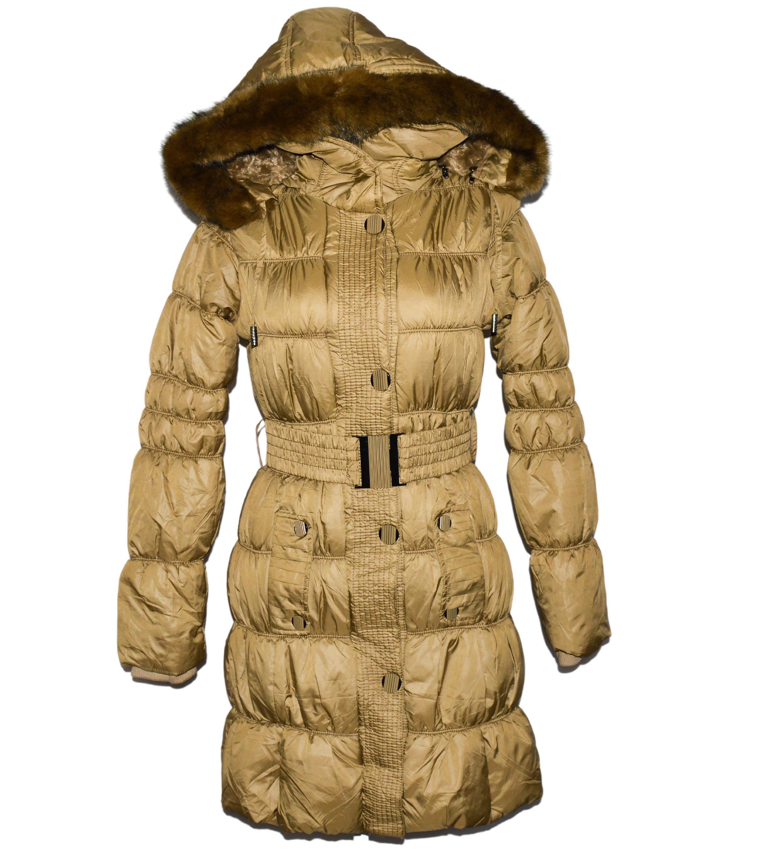 Dámský zlatý prošívaný zimní kabát s páskem a kapucí S