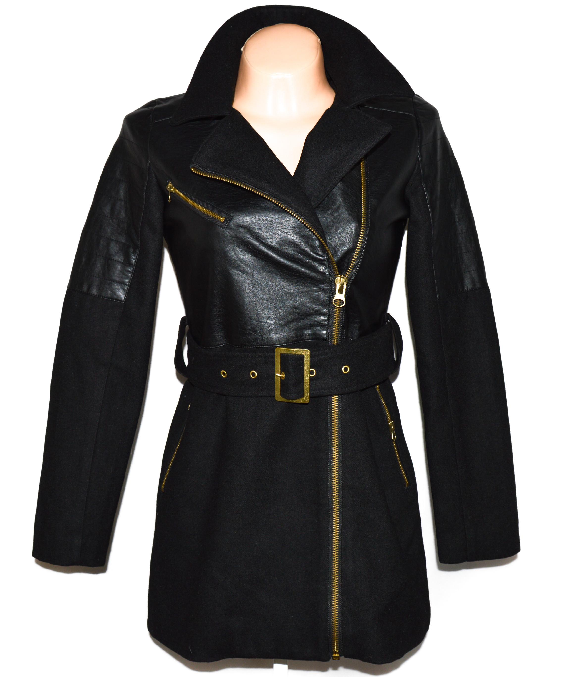 Vlněný (50%) dámský černý kabát - křivák s páskem Brave Soul XS