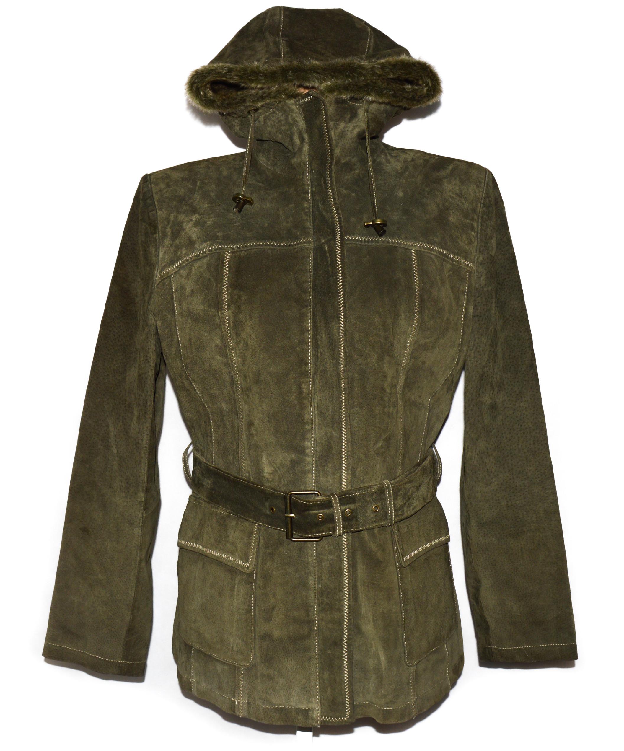 KOŽENÝ dámský khaki zelený semišový zateplený kabát s páskem a kapucí Authentic 40