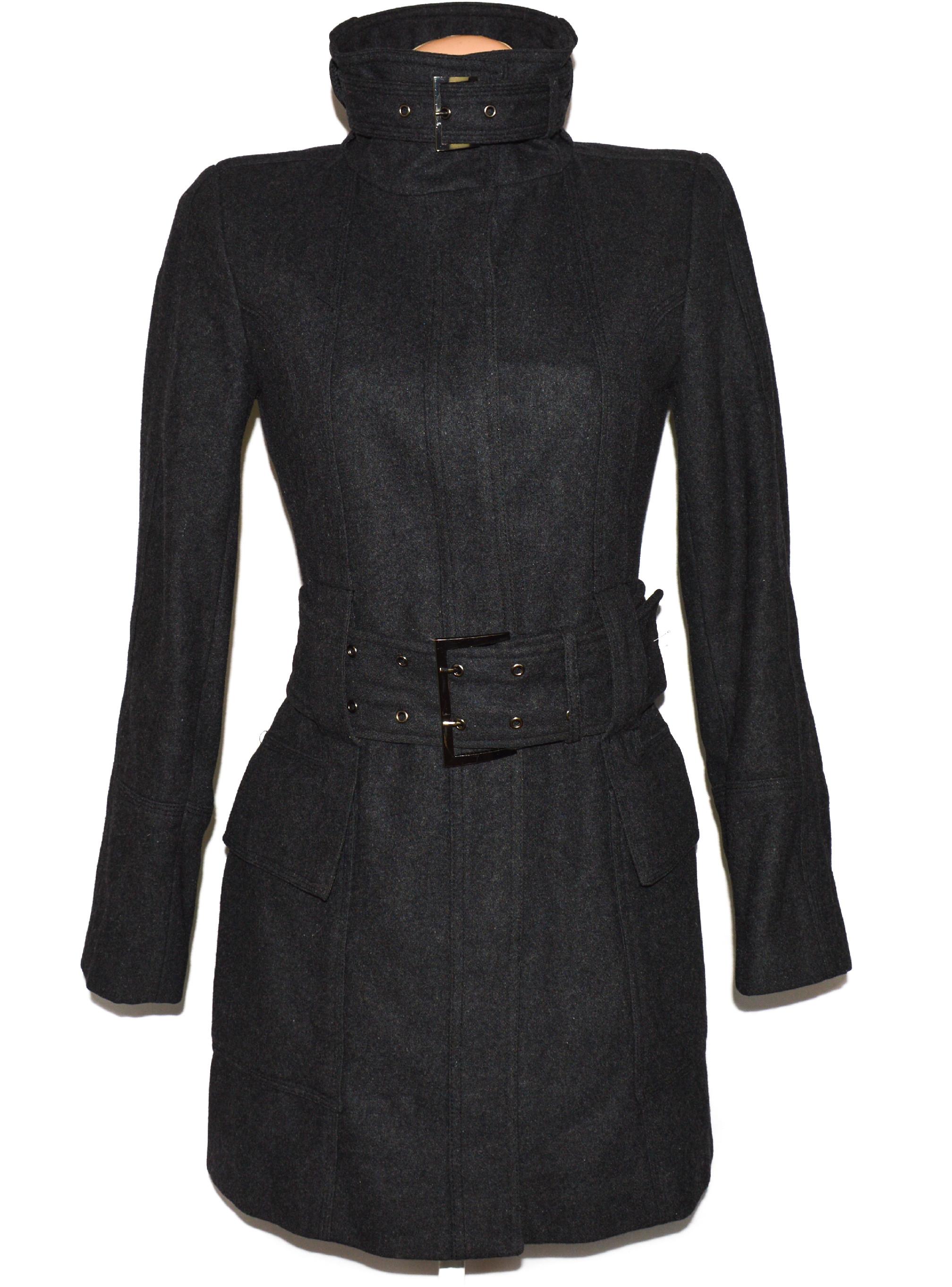 Vlněný dámský šedý kabát s páskem ZARA S