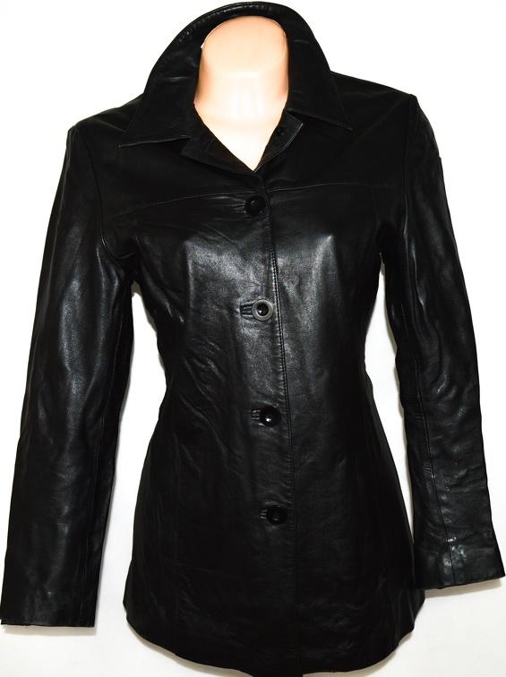 KOŽENÝ dámský měkký černý kabát L