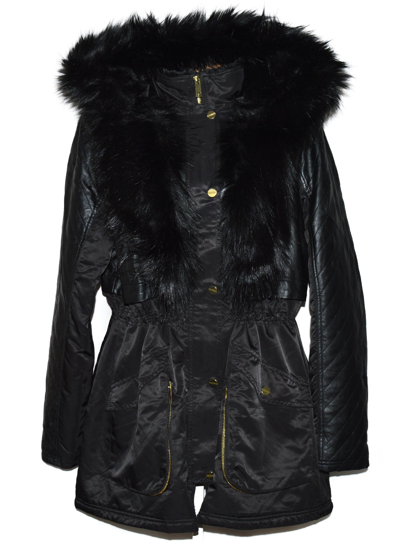 Dámská černá zimní parka s kožíškem, koženkové doplňky F&F S, XXL