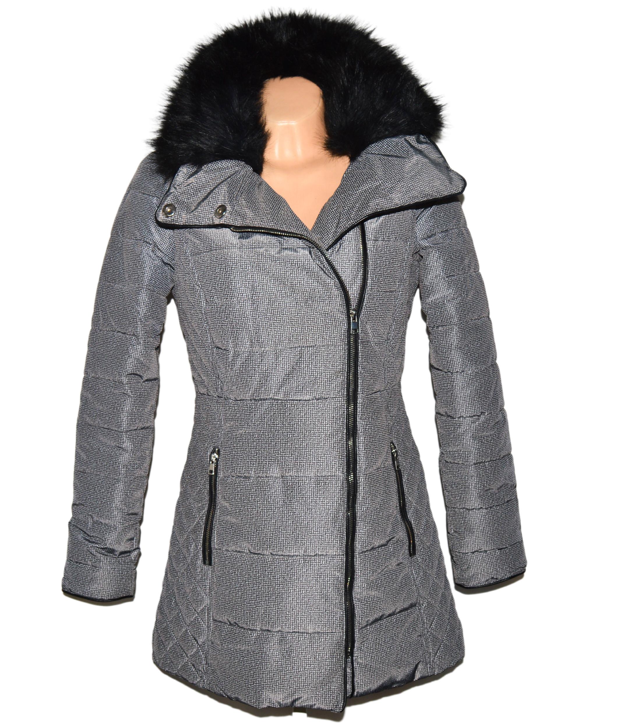 Dámský prošívaný šedobílý kabát - křivák s kožíškem F&F 10/38