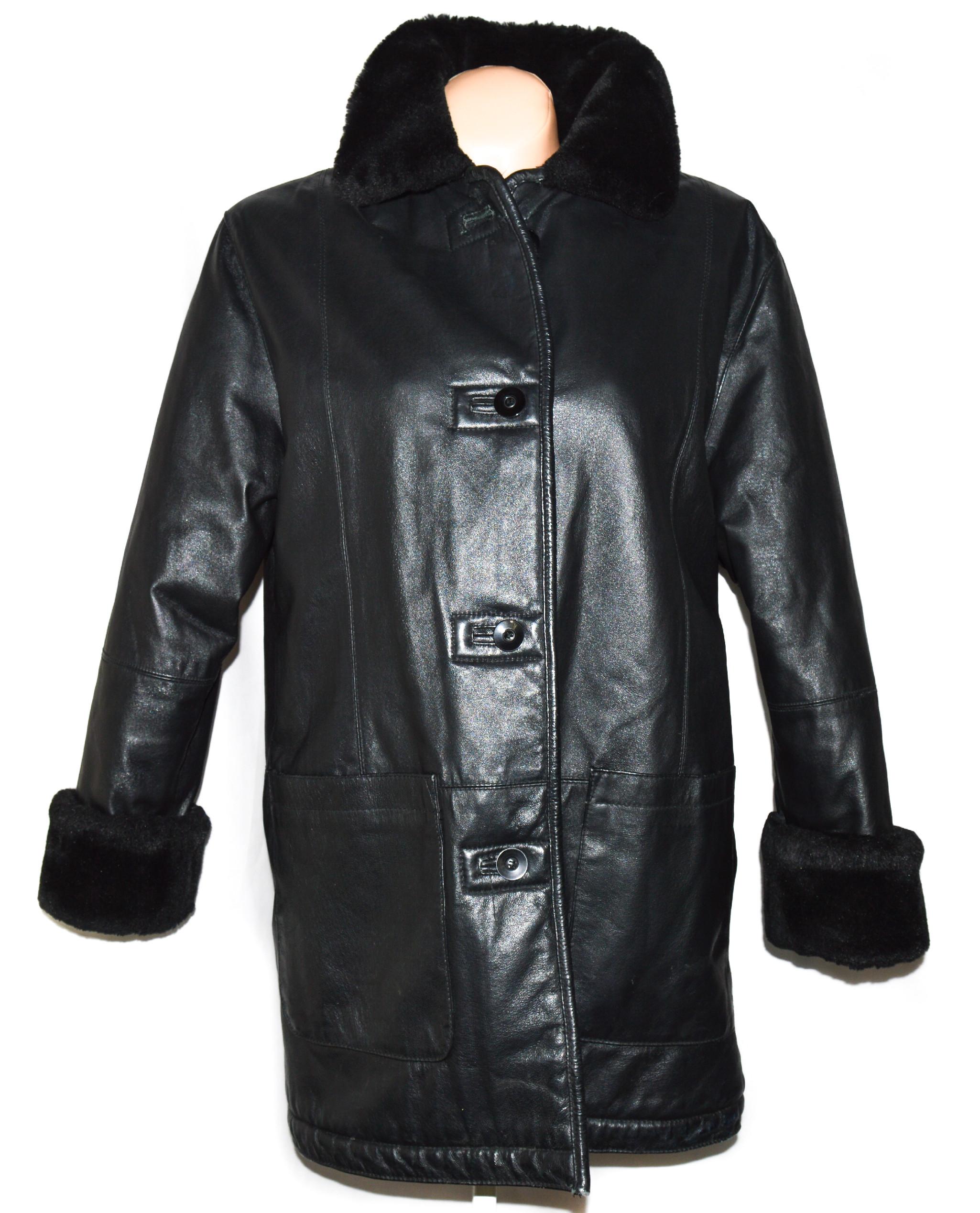 KOŽENÝ dámský černý měkký zimní kabát s kožíškem L