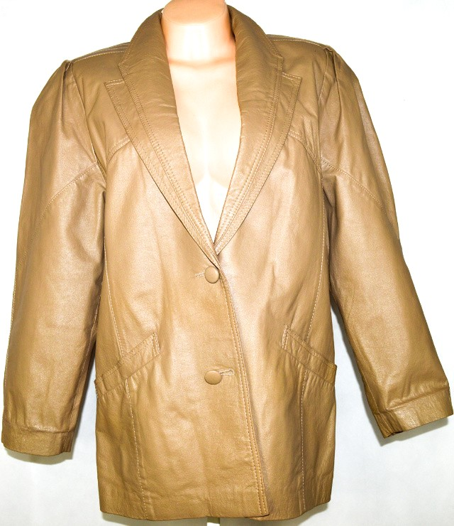 KOŽENÝ dámský béžový kabát XL