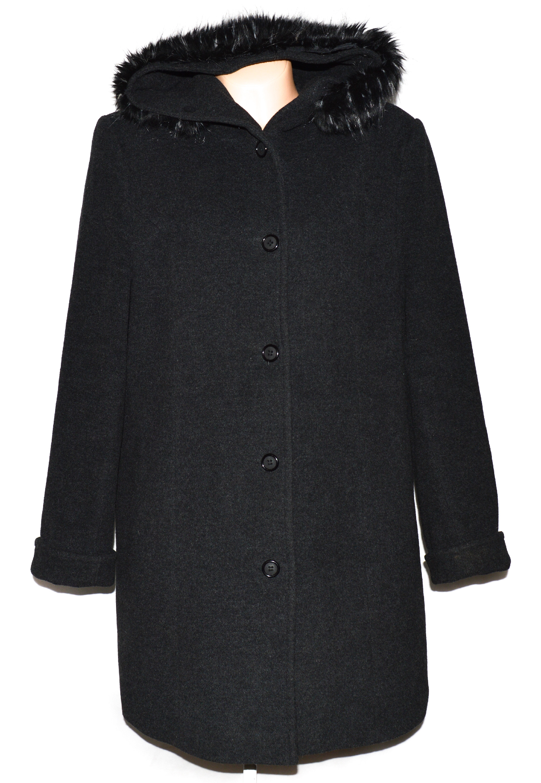Vlněný (60%) dámský šedočerný kabát s kapucí DD Fashion (vlna, kašmír) XXL
