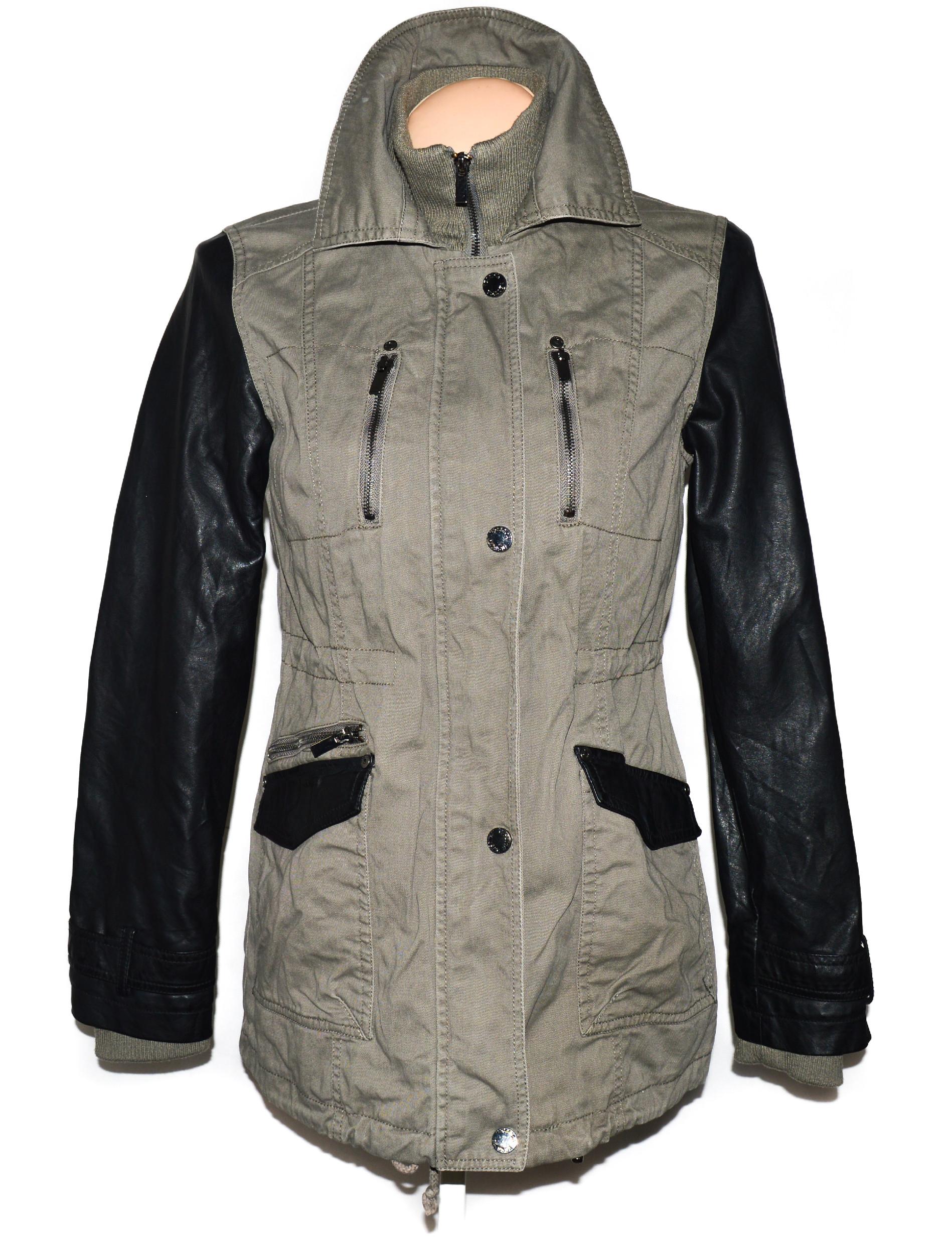 Dámský khaki kabátek s koženkovými rukávy C&A 12/38
