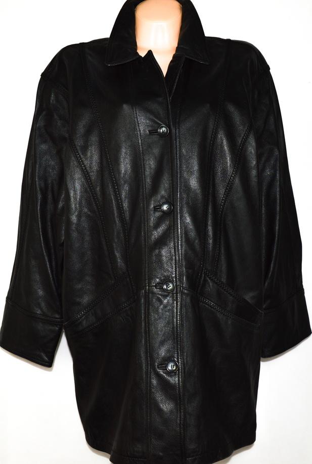 KOŽENÝ dámský měkký černý kabát XXL