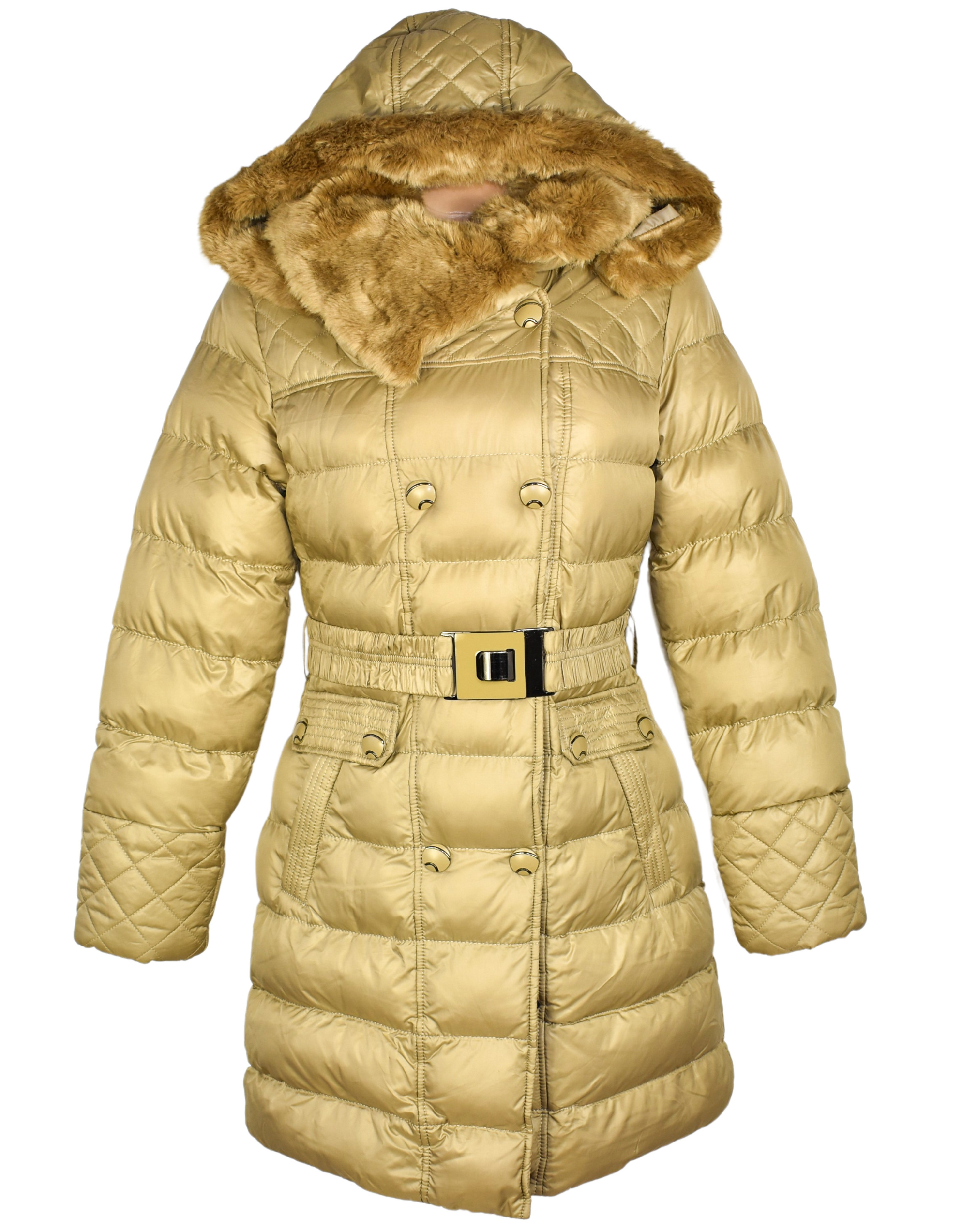 Dámský prošívaný zimní zlatý kabát s páskem a kapucí Hikiss M/38