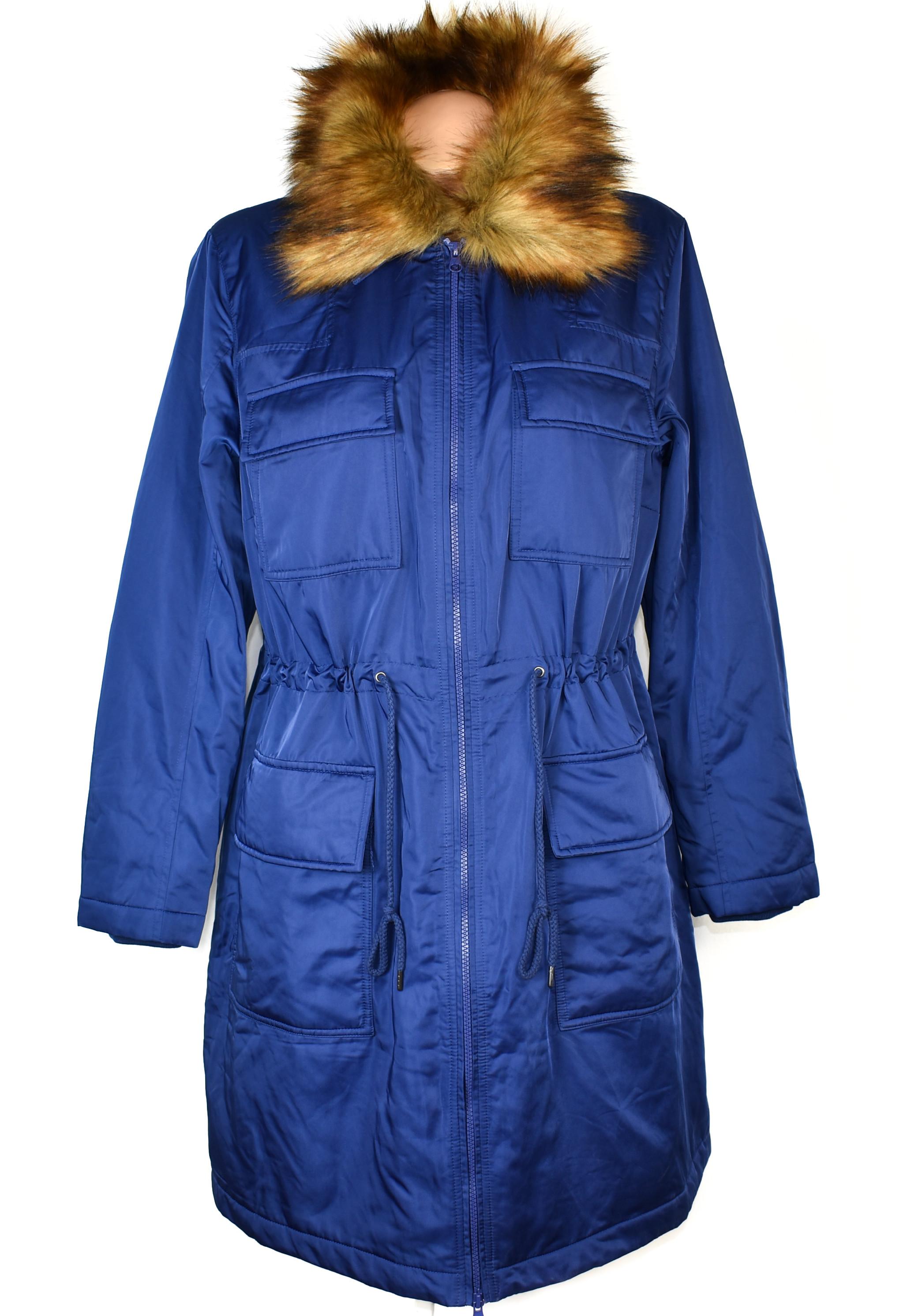 Dámský prošívaný královsky modrý zateplený kabát - parka s kožíškem BPC 18/44 - s visačkou