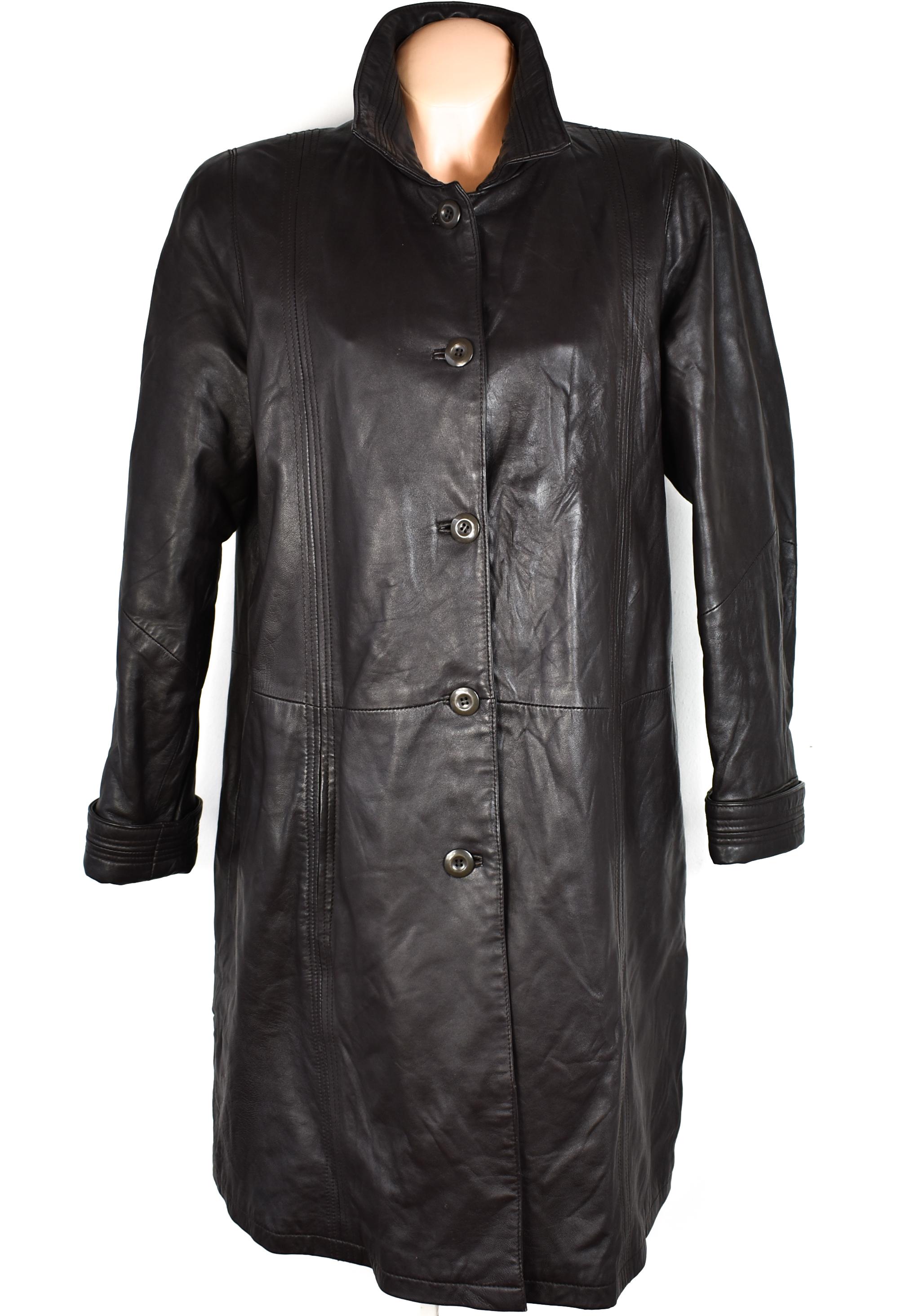 KOŽENÝ dámský hnědý měkký dlouhý kabát Julia S. Roma XL