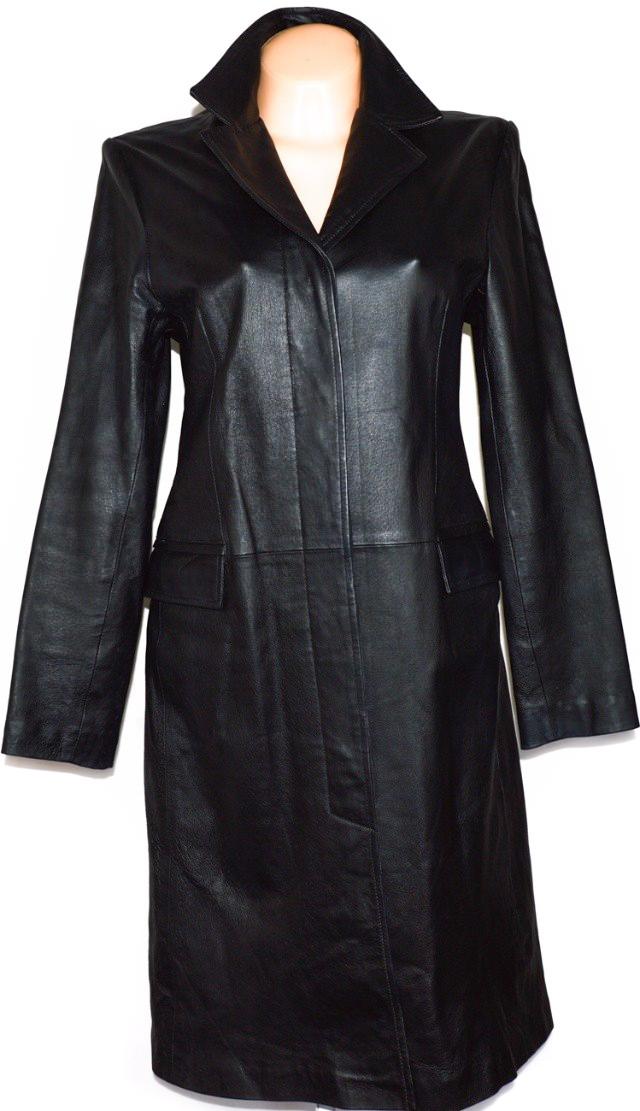 KOŽENÝ dámský dlouhý černý kabát CLOCKHOUSE vel. M