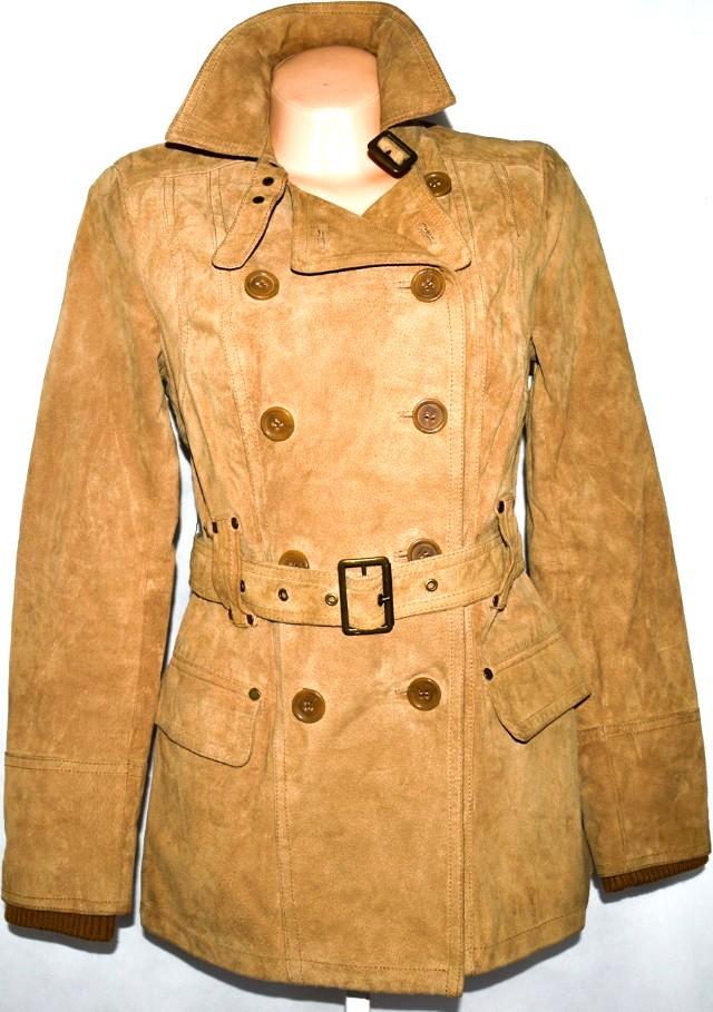 KOŽENÝ dámský broušený hnědý kabát s páskem STRADIVARIUS M