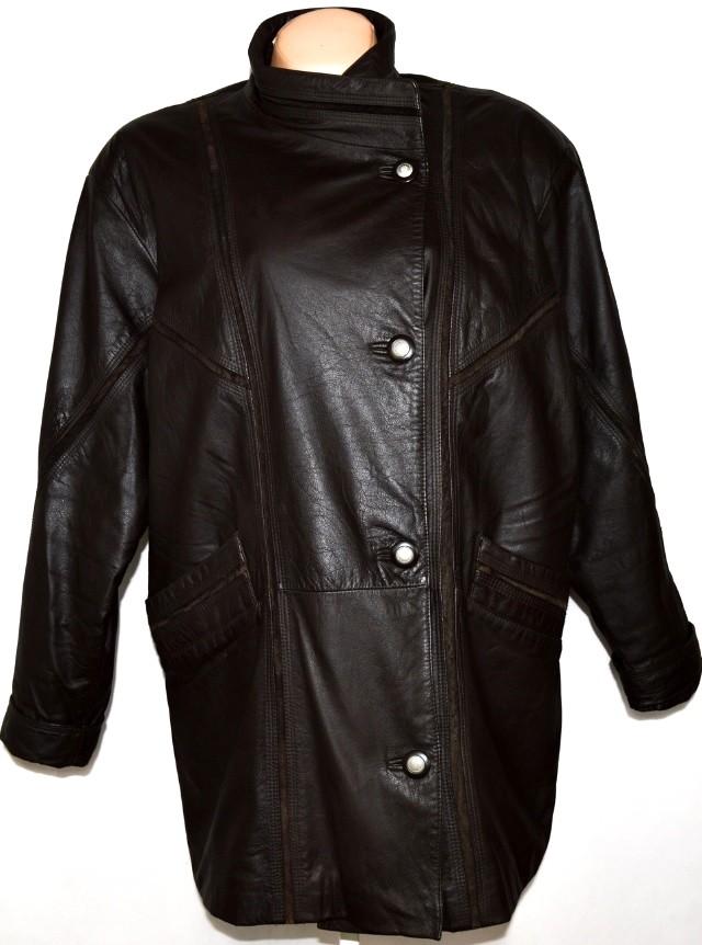 KOŽENÝ dámský hnědý kabát XXXL