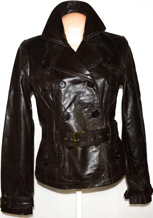 KOŽENÝ dámský hnědý kabátek s páskem NEW LOOK L