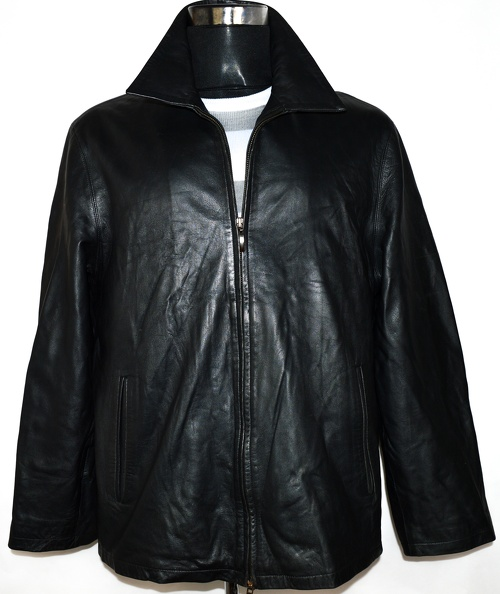 KOŽENÁ pánská černá měkká bunda na zip ASHWOOD XL