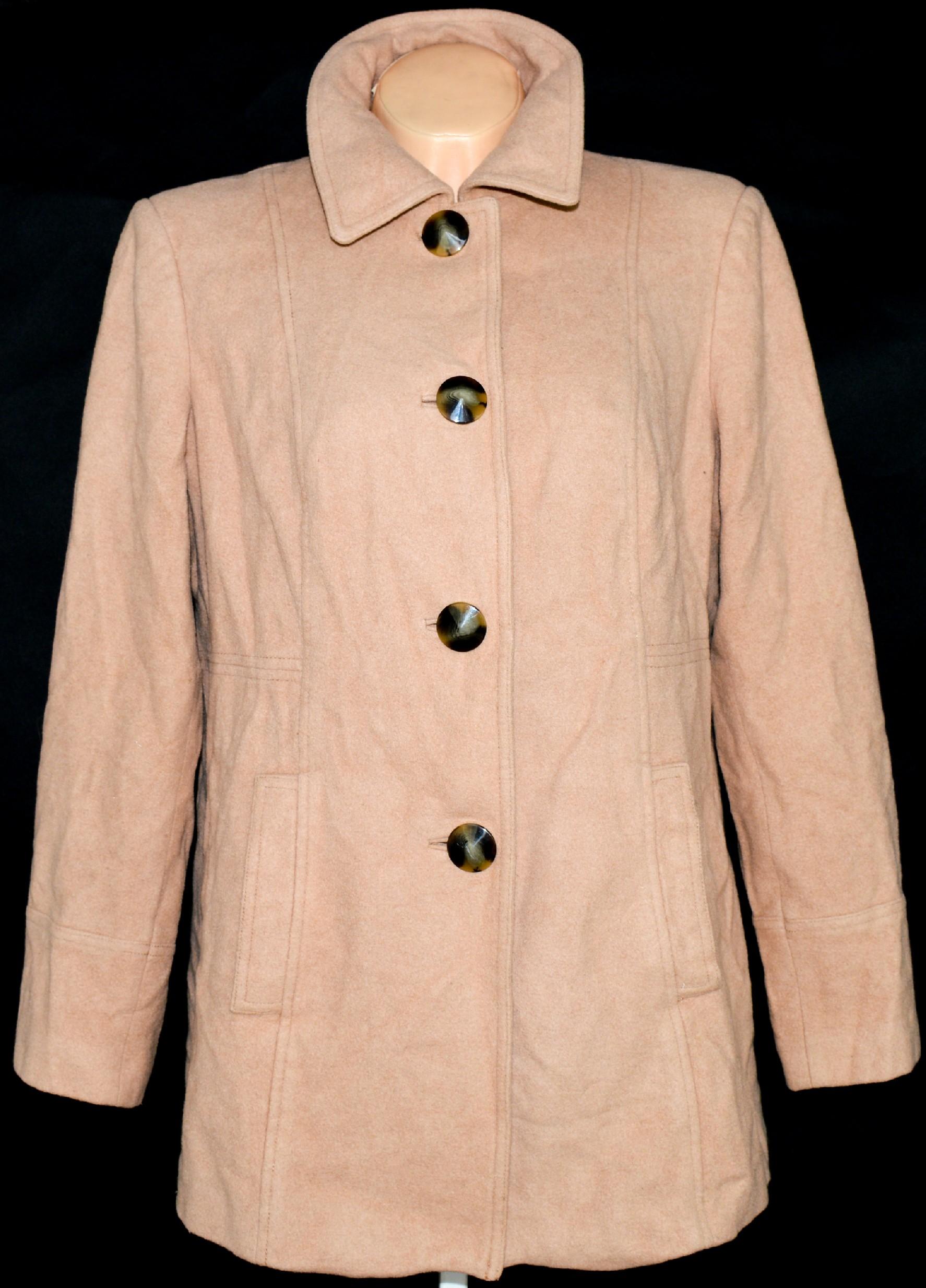 Vlněný dámský hnědý / béžový kabát UK 18/ XXL