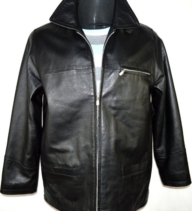KOŽENÁ pánská černá měkká bunda na zip vel. M