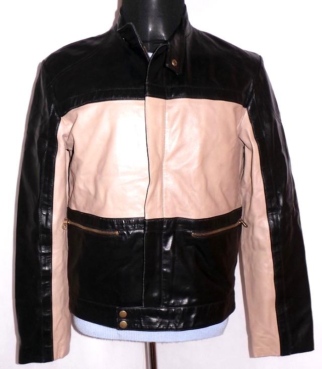 KOŽENÁ pánská černo-béžová bunda na zip GEORGE S