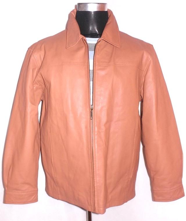 KOŽENÁ pánská hnědá zateplená bunda L