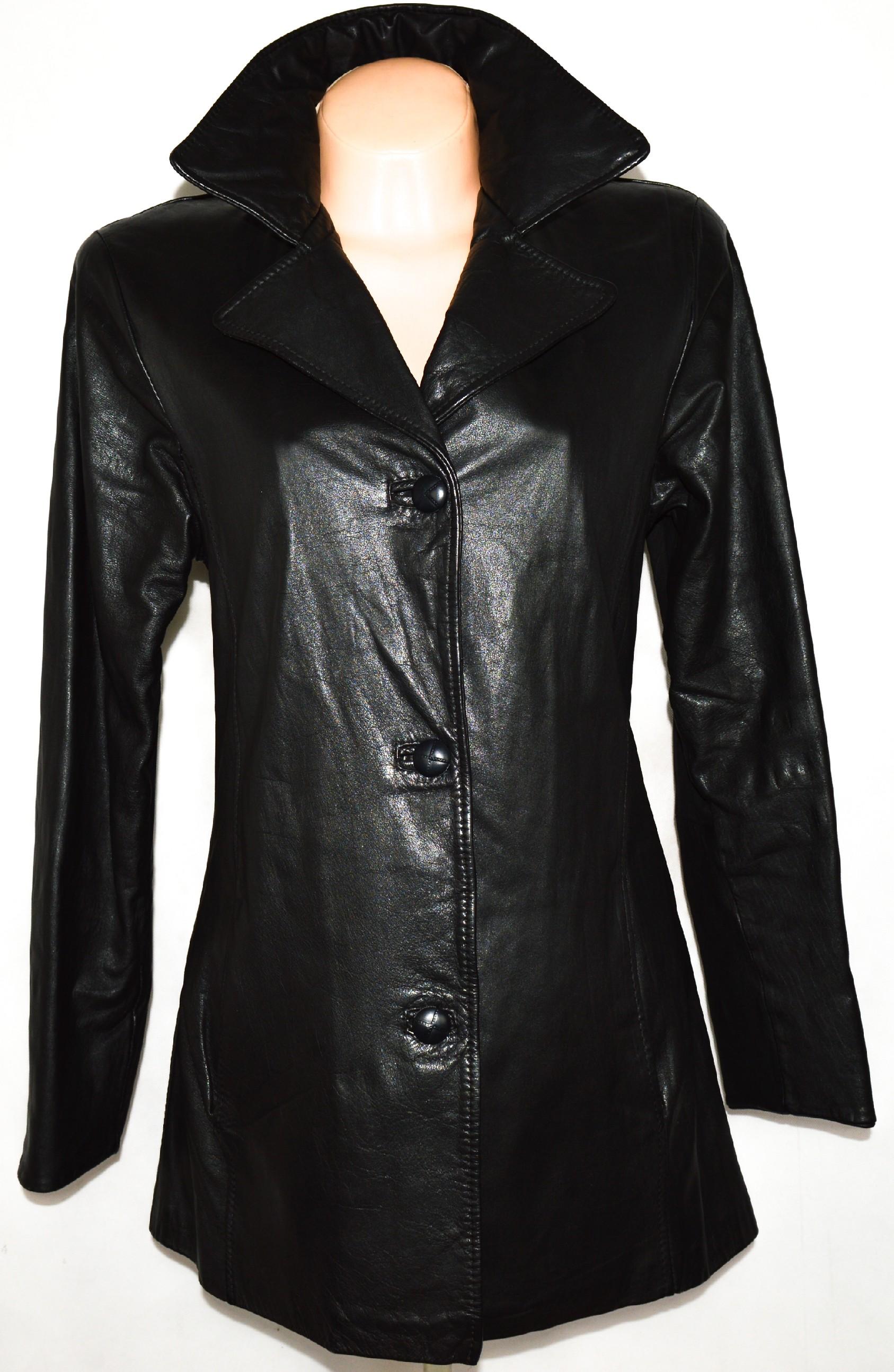 Dámský černý kožený kabát vel. L 9db187d765