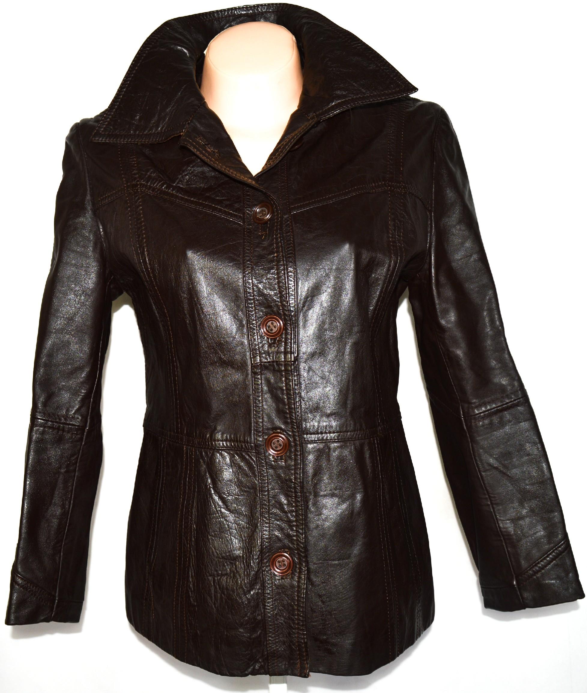 KOŽENÝ dámský hnědý kabát ve. L