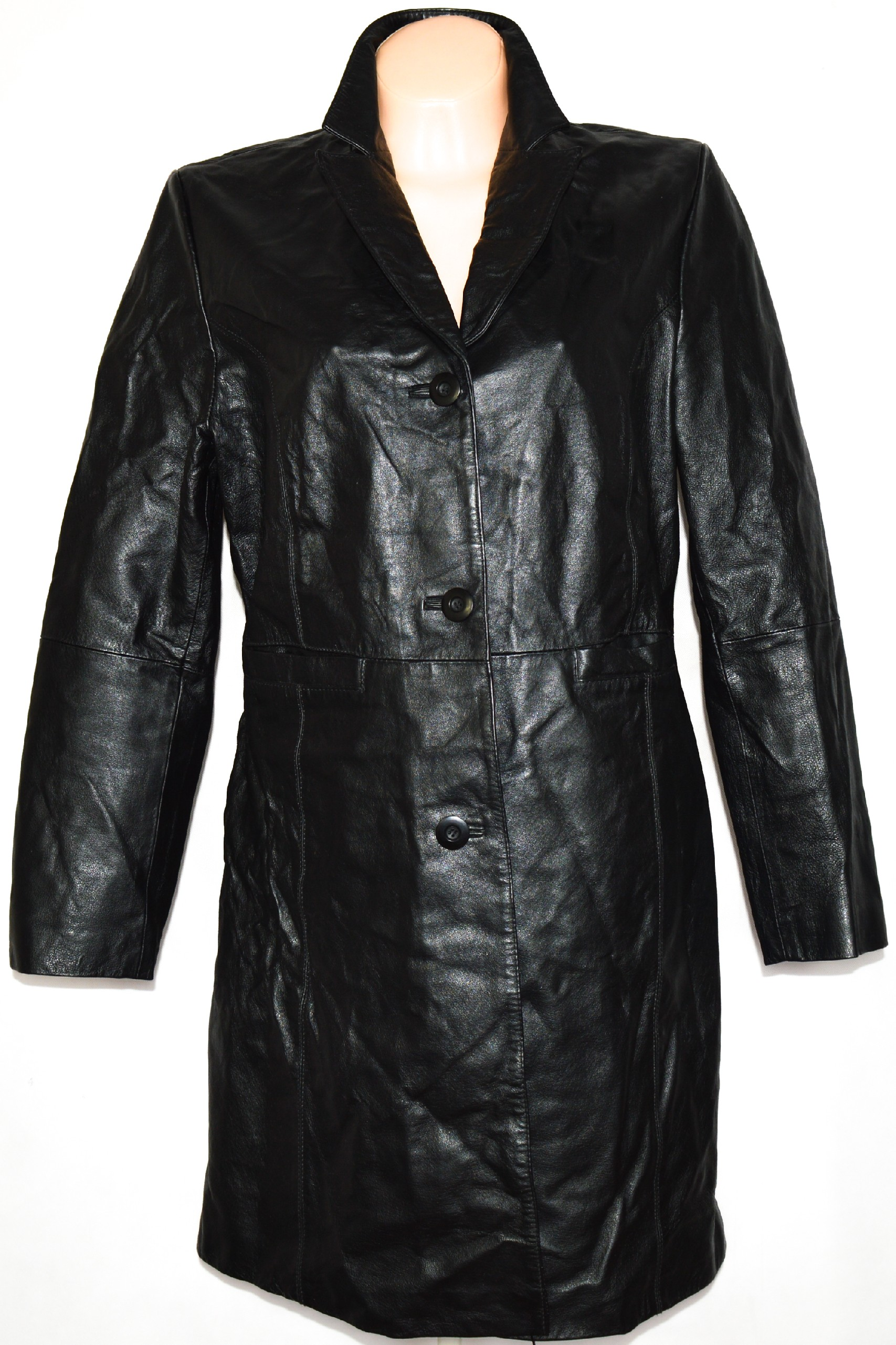 KOŽENÝ dámský černý kabát BARISAL XL