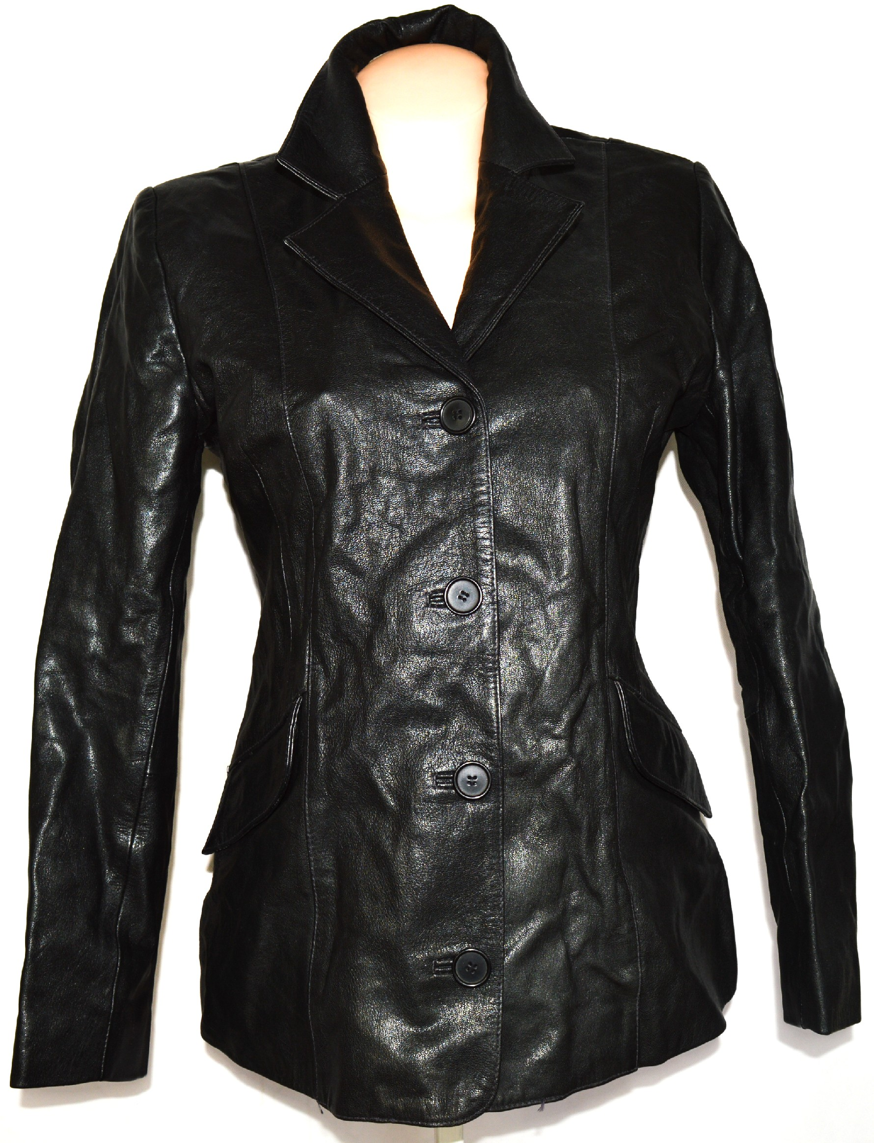 KOŽENÝ dámský černý kabát GAPELLE vel. L 065171b34ef