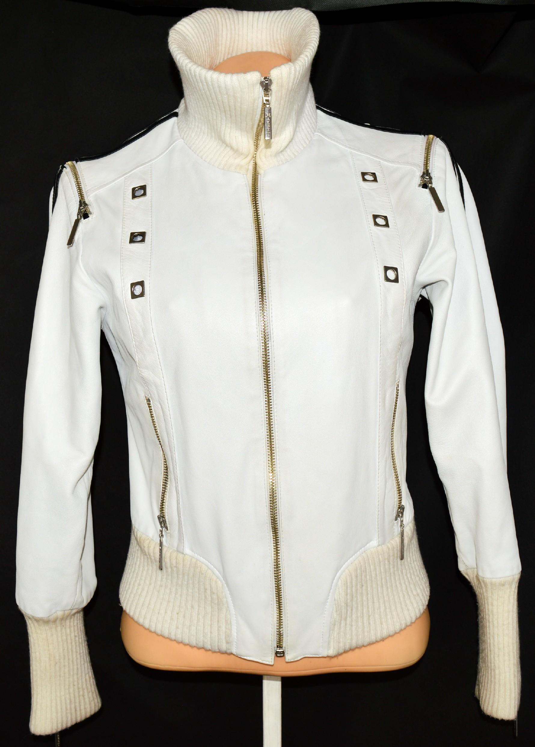 KOŽENÁ dámská měkká bílá bunda s vložkou MARBET M
