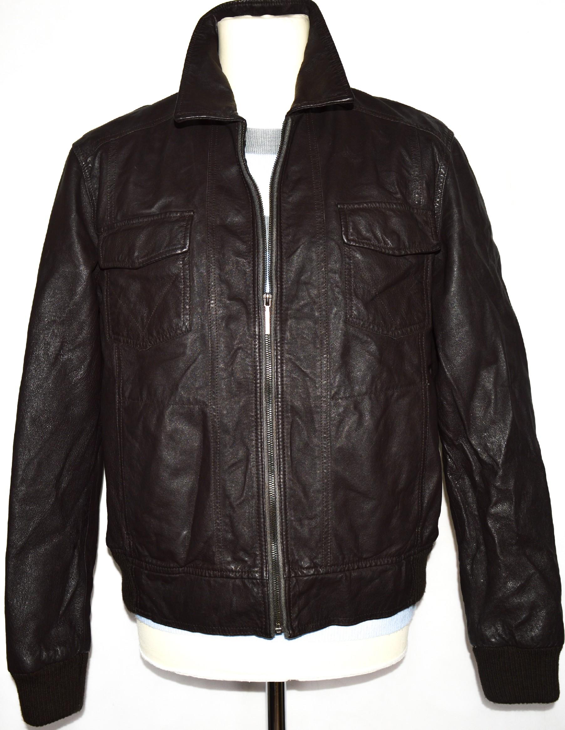 KOŽENÁ pánská hnědá bunda na zip OUTRAGE LONDON M