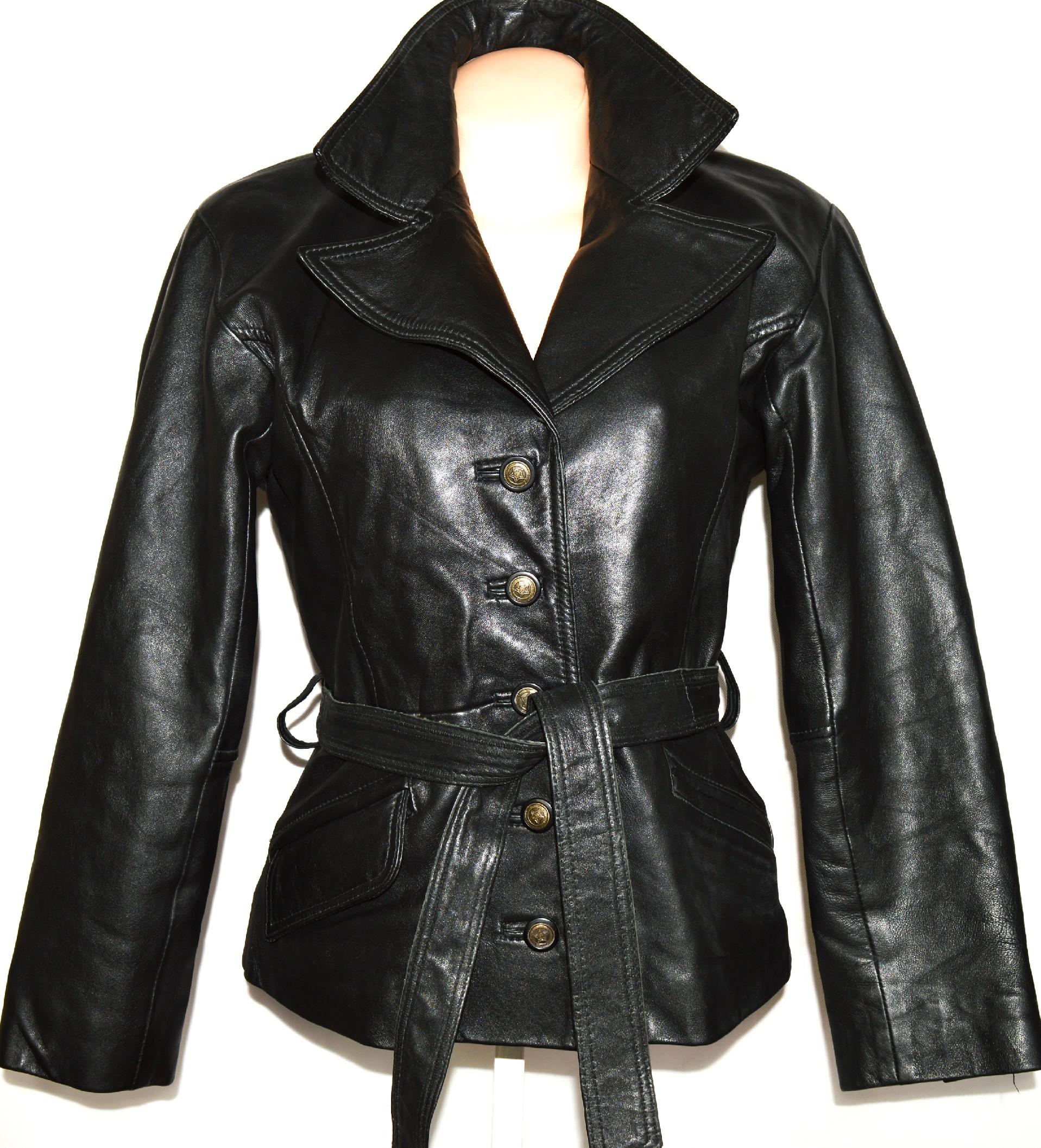 KOŽENÝ dámský měkký černý kabát s páskem CUBA L