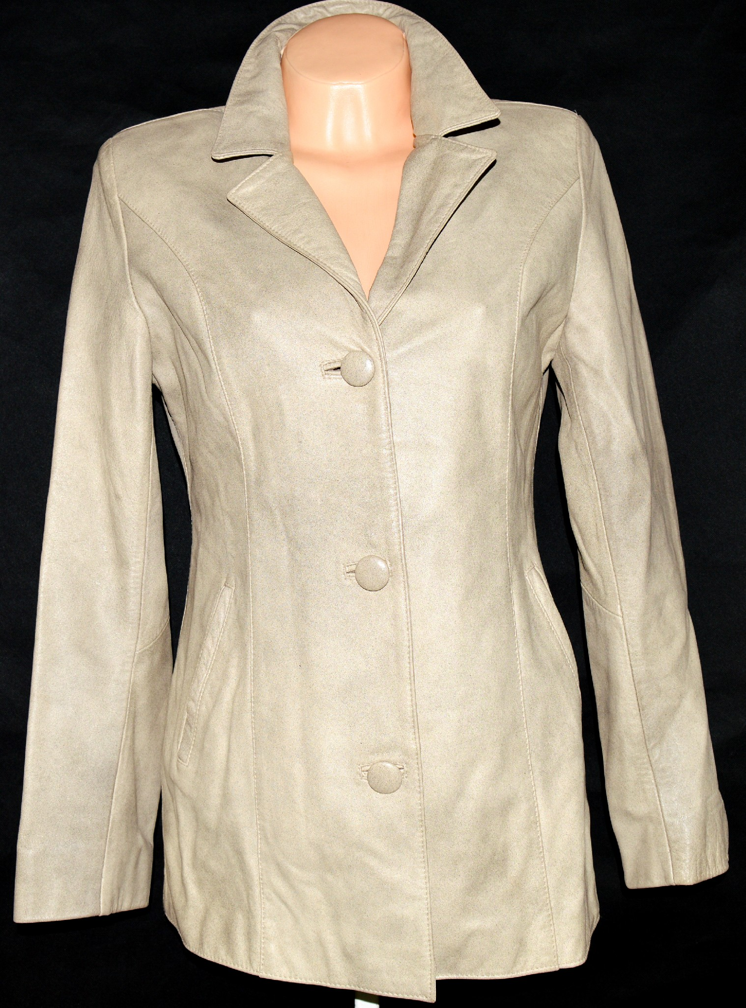 KOŽENÝ dámský béžový kabát 38