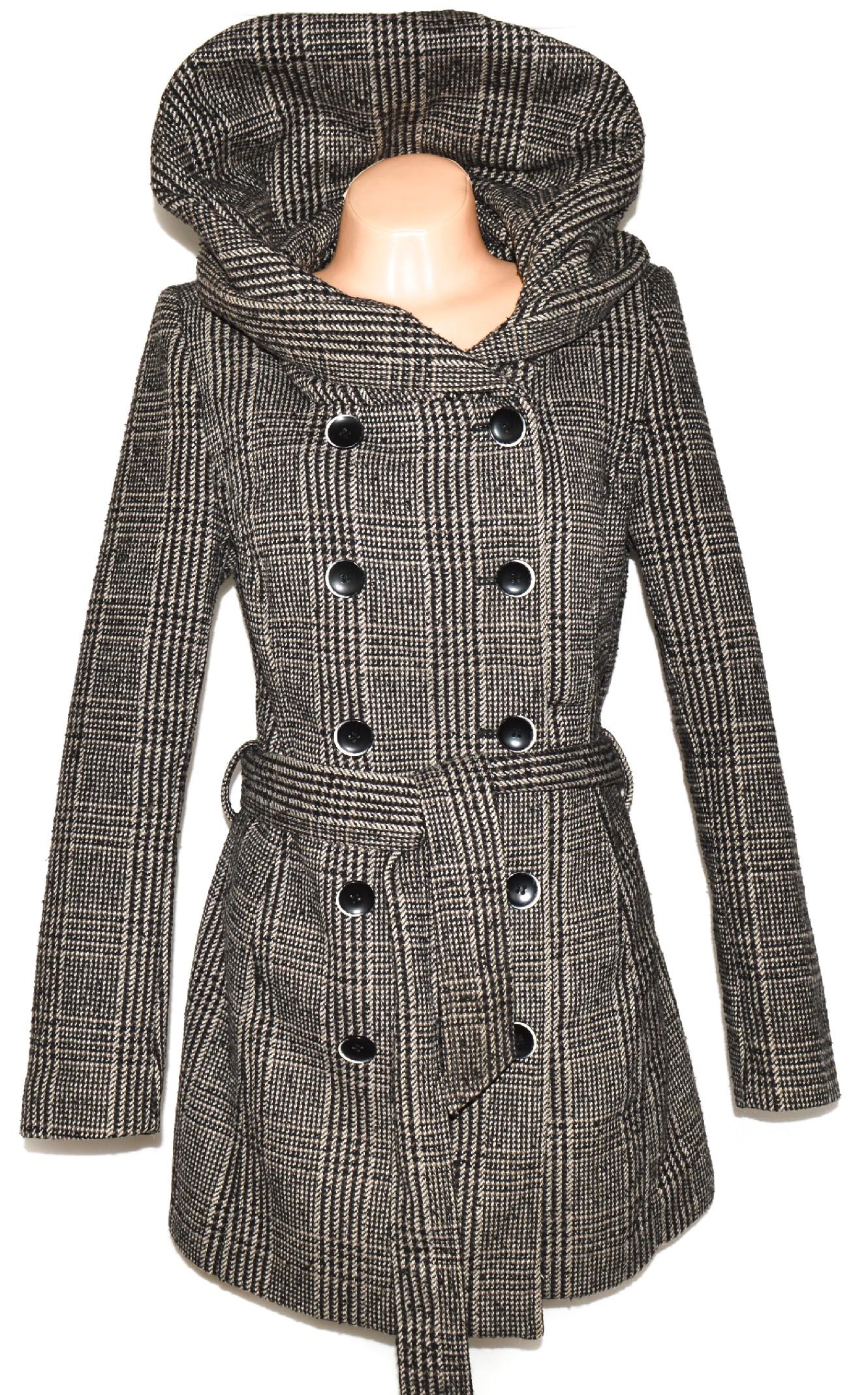 Vlněný dámský hnědý kabát s límcem  kapucí 3b0da4fbc24