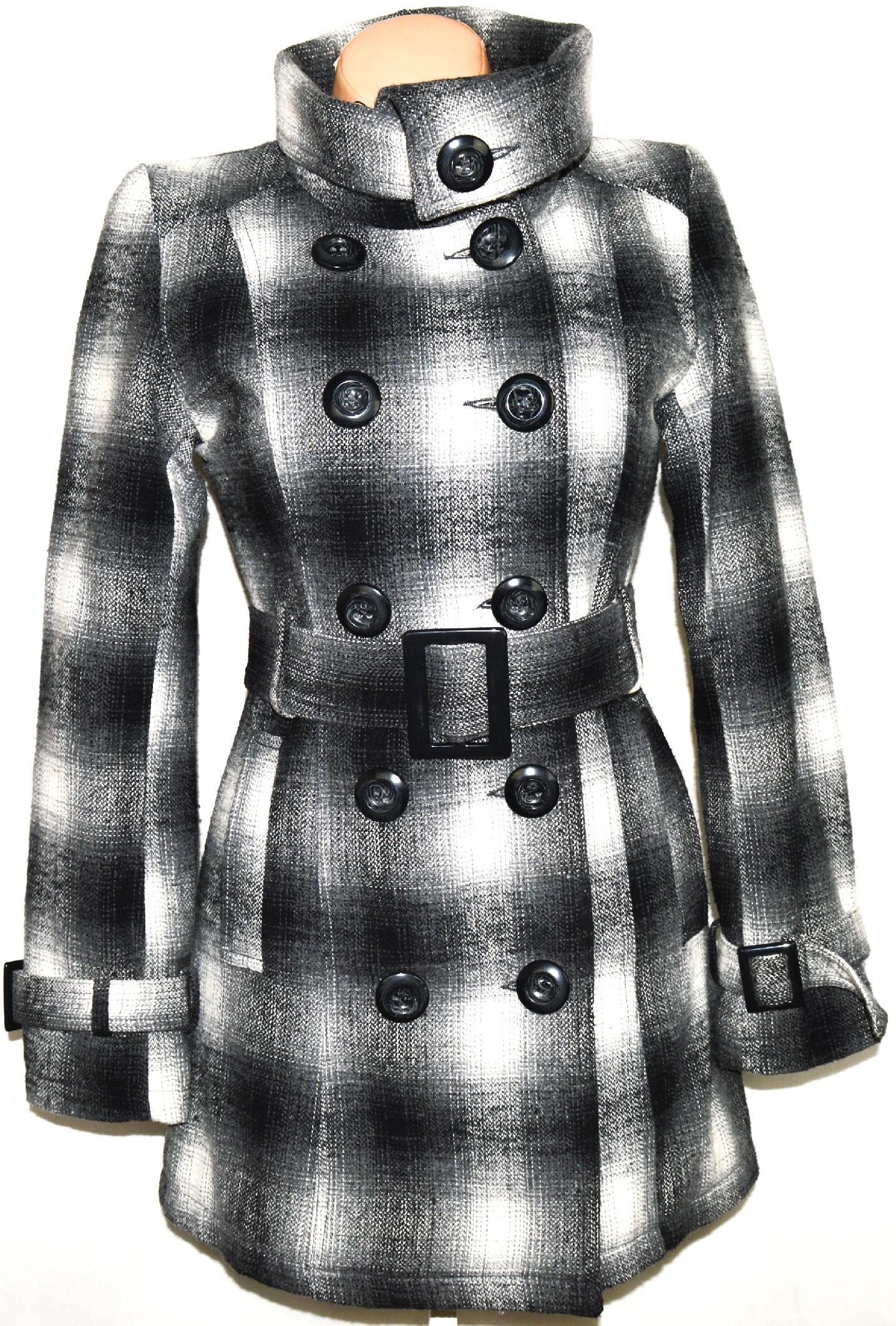 Vlněný dámský šedočerný kabát s páskem 1d6c87d6d1e