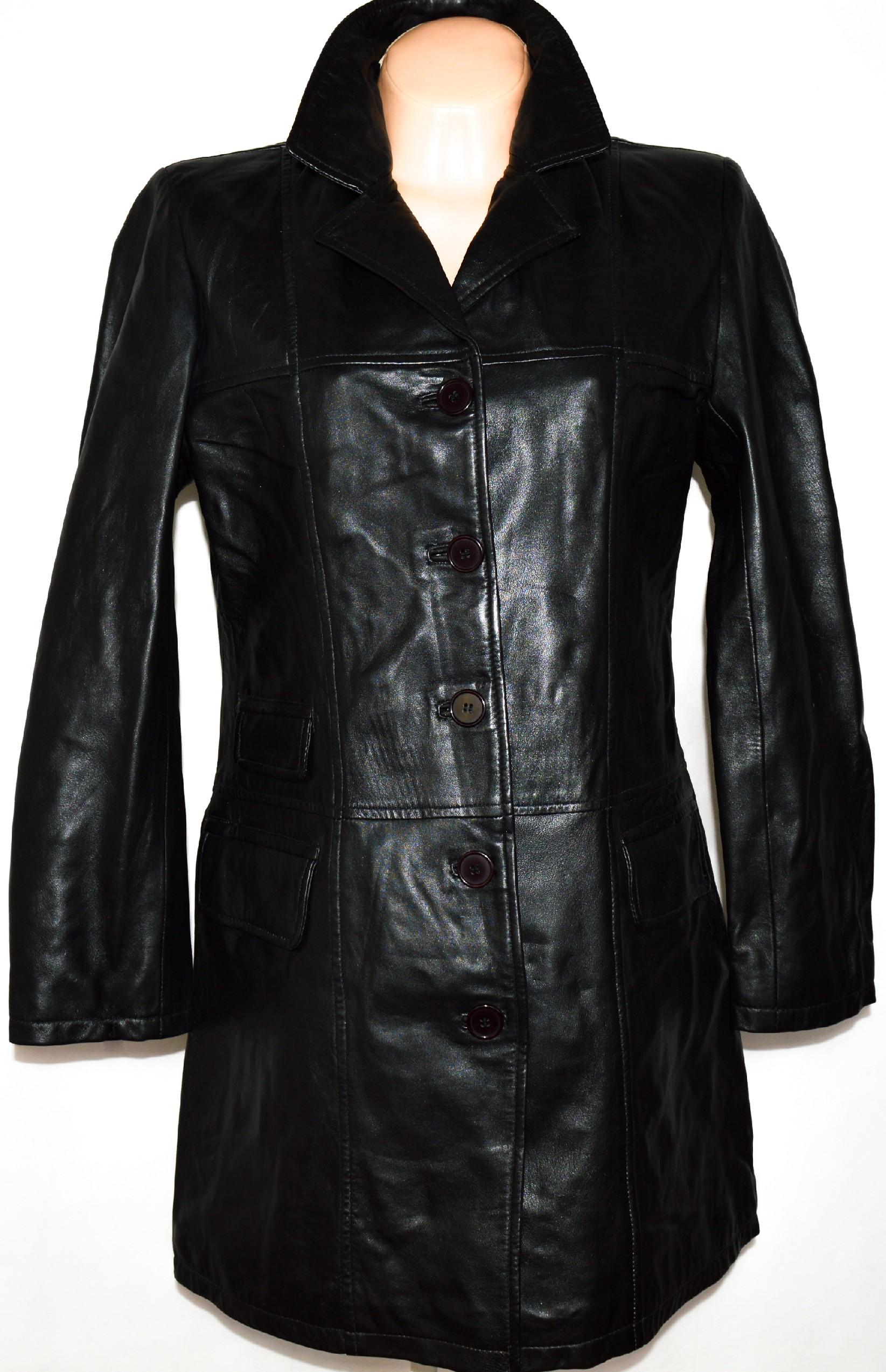 KOŽENÝ dámský černý měkkoučký kabát vel. L 9cbbde5263