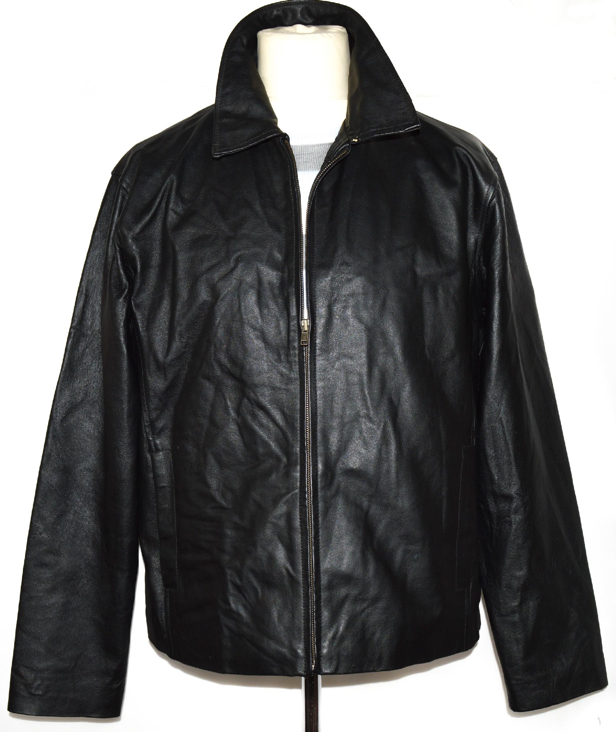 KOŽENÁ pánská černá bunda na zip ZERO L