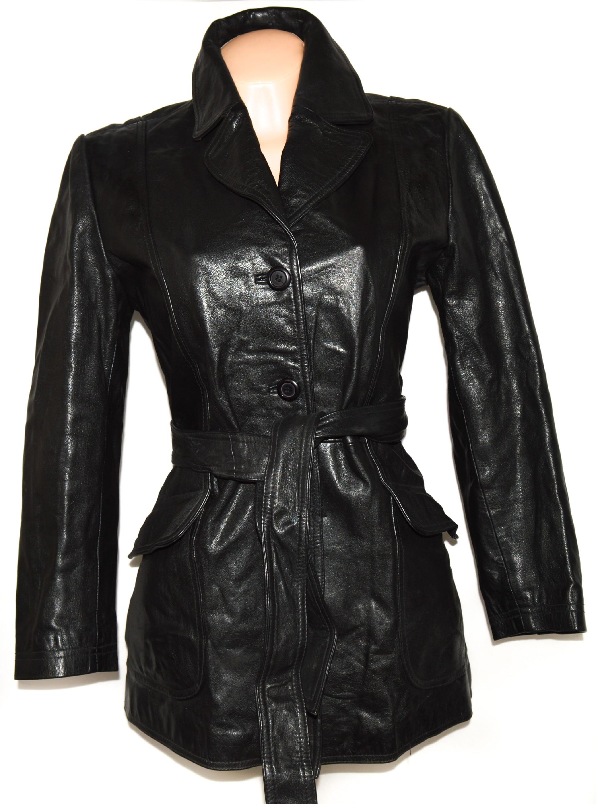 KOŽENÝ dámský černý kabát s páskem L