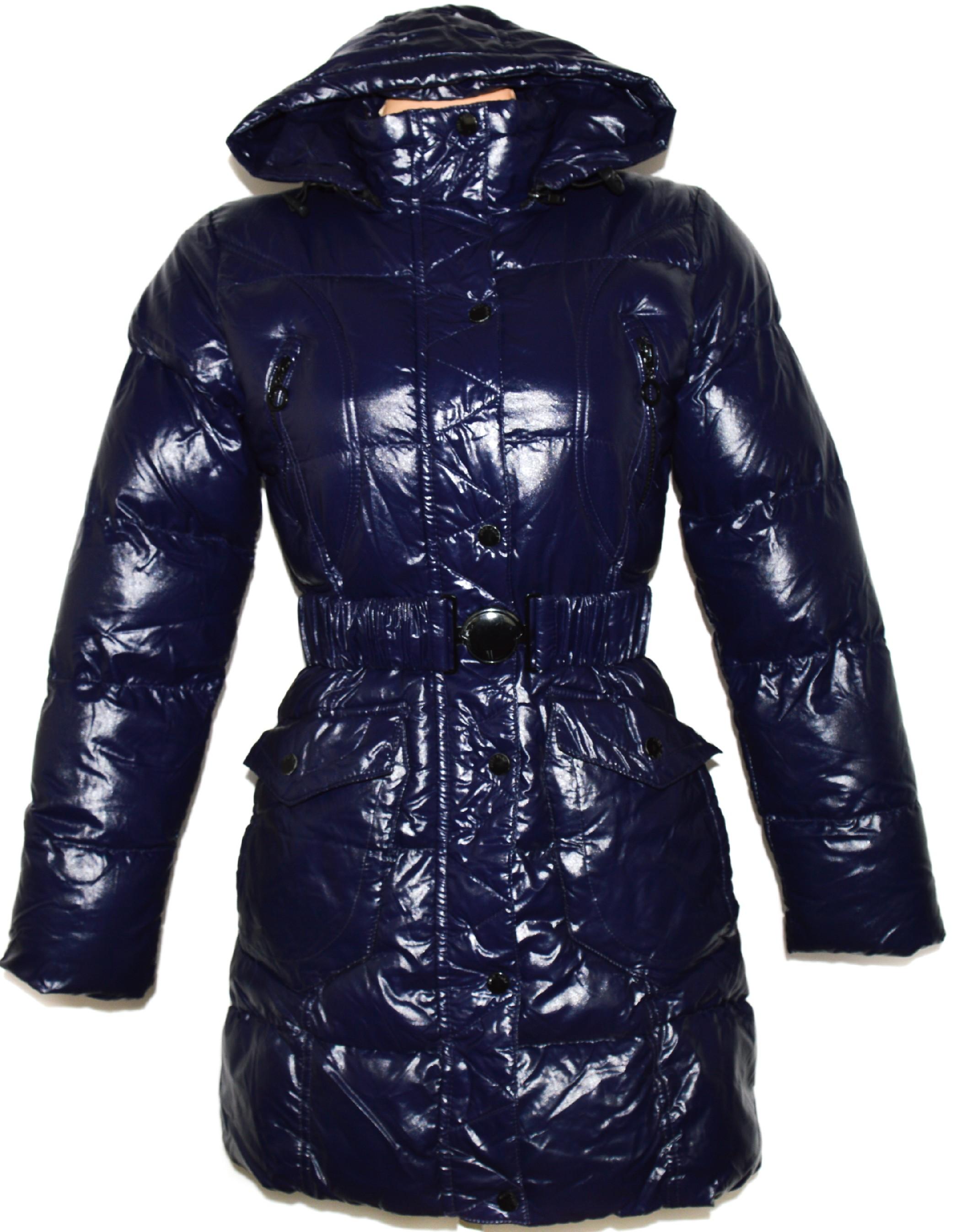 Dámský modrý šusťákový kabát s páskem babd687b0a2